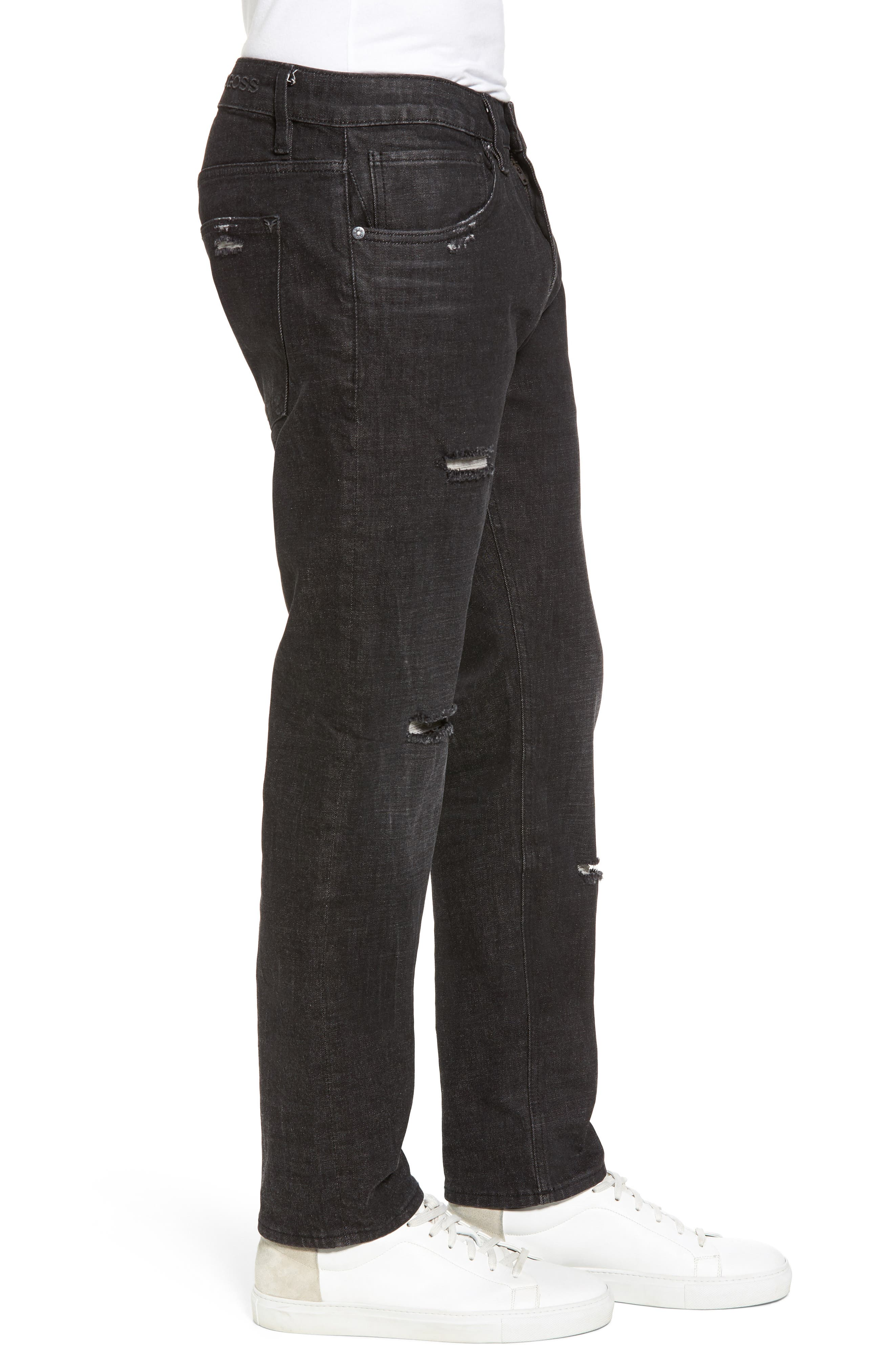 Slim Straight Leg Jeans,                             Alternate thumbnail 3, color,                             001