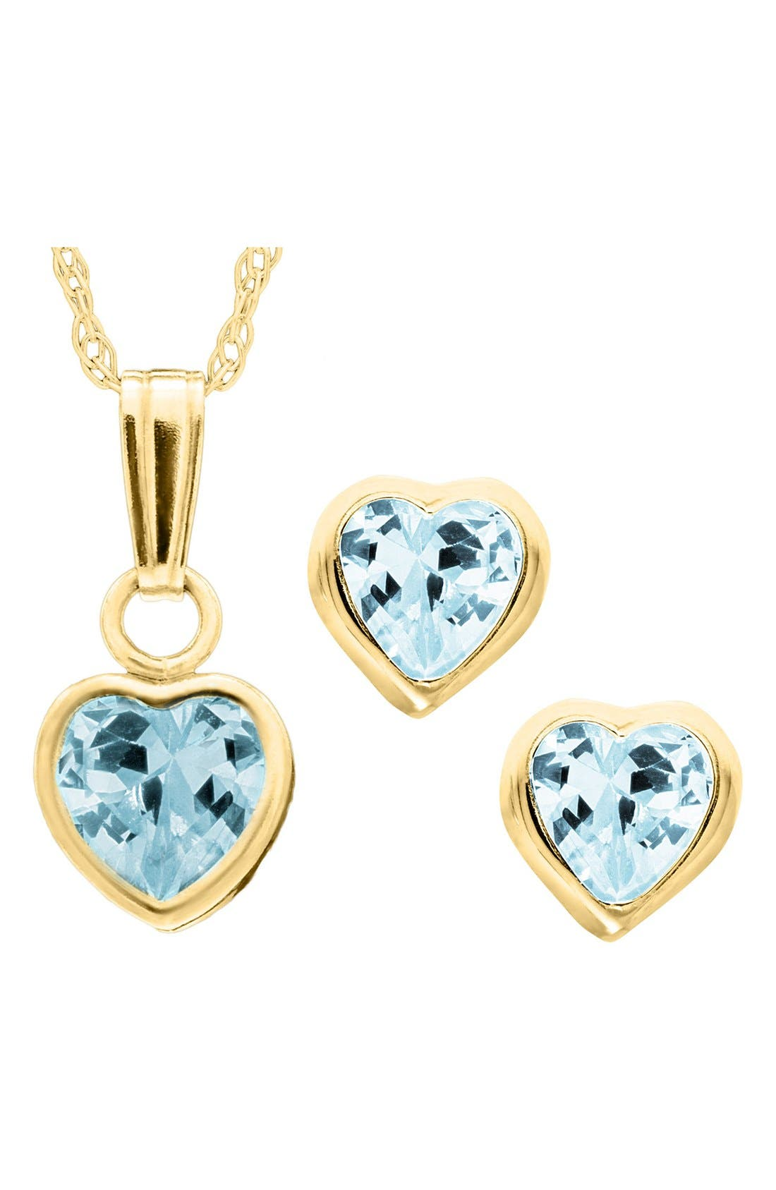 14k Gold Birthstone Necklace & Stud Earrings,                             Main thumbnail 1, color,                             DECEMBER