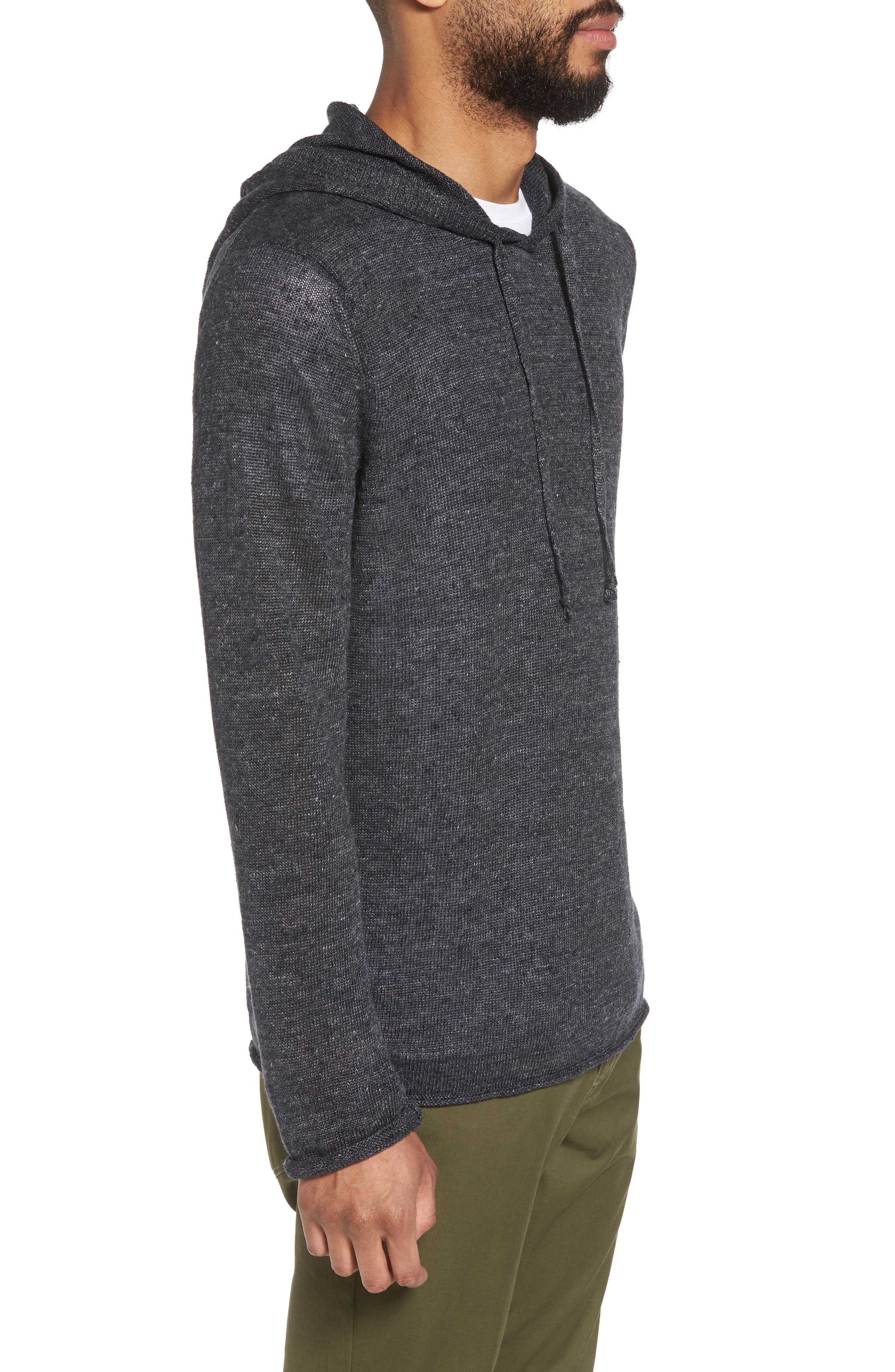 Slim Fit Linen Pullover Hoodie,                             Alternate thumbnail 3, color,                             001