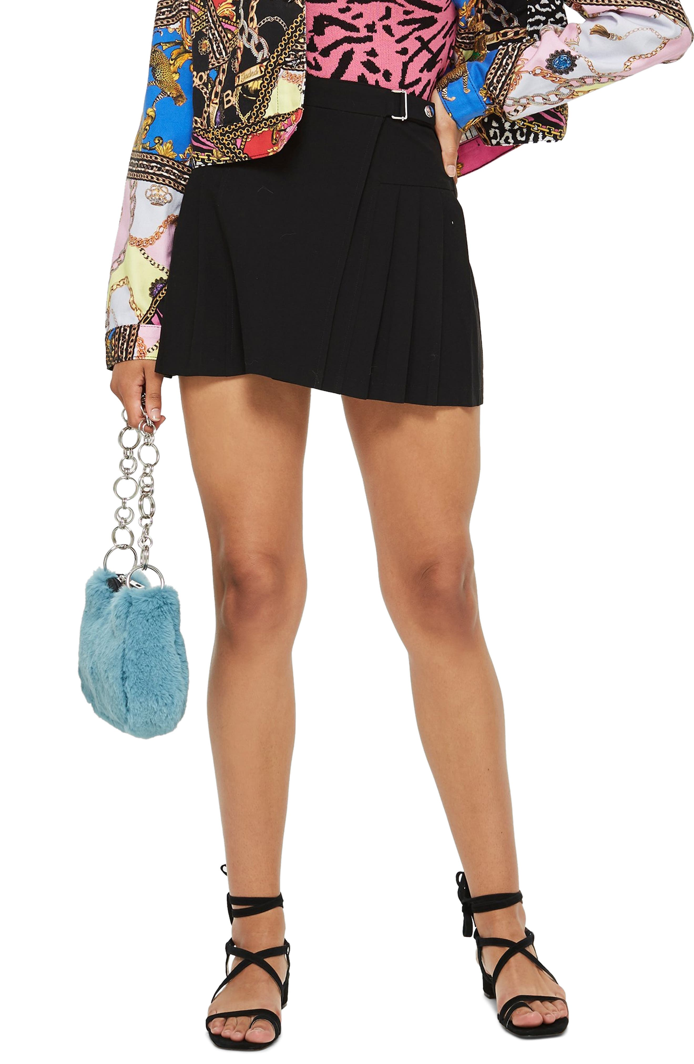 Petite Popper Tab Kilt Skirt,                         Main,                         color, BLACK