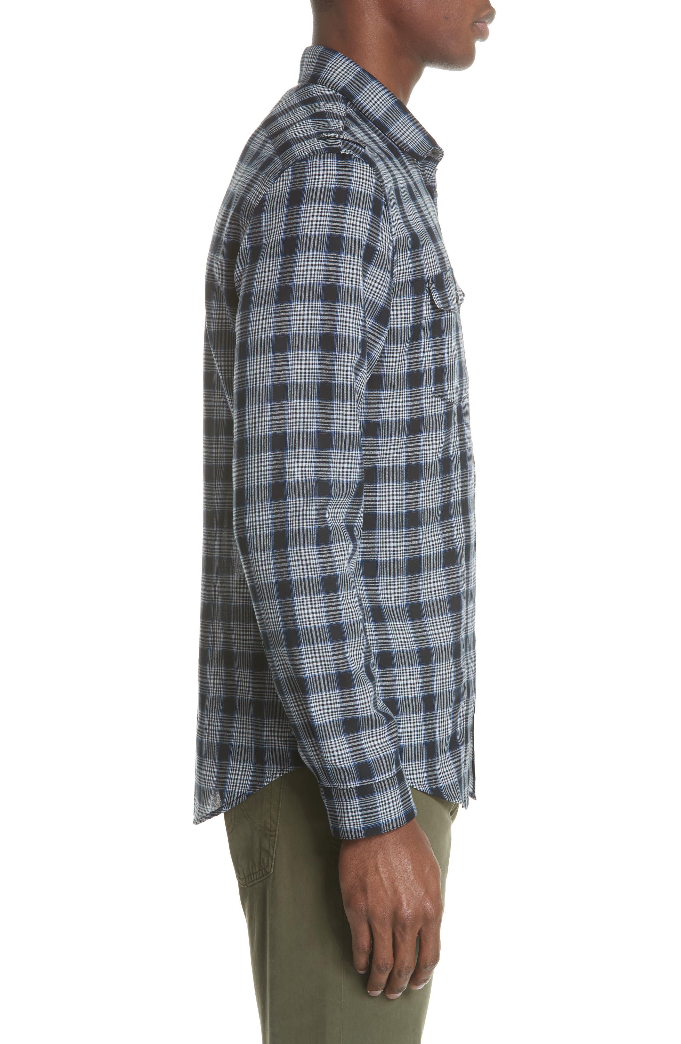 Slim Fit Plaid Sport Shirt,                             Alternate thumbnail 3, color,                             MIDNIGHT