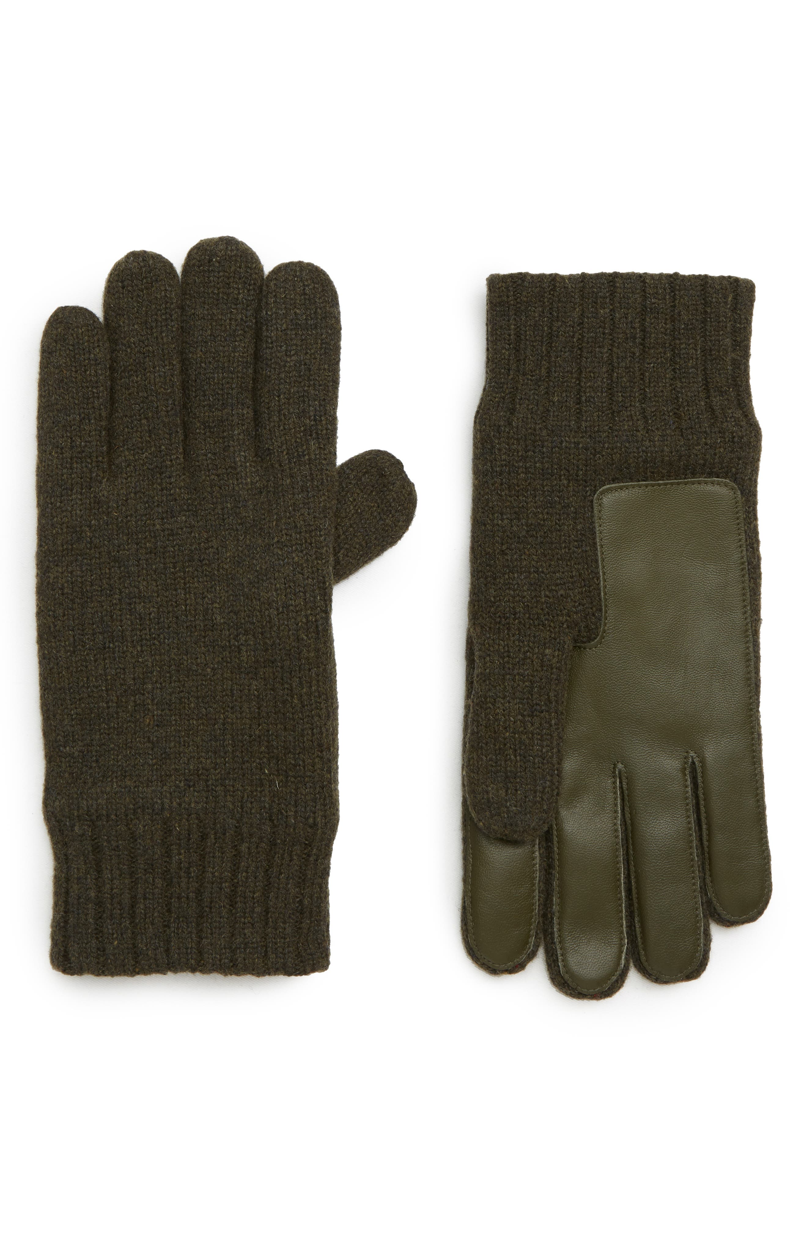 Ugg Leather Palm Knit Gloves, Green