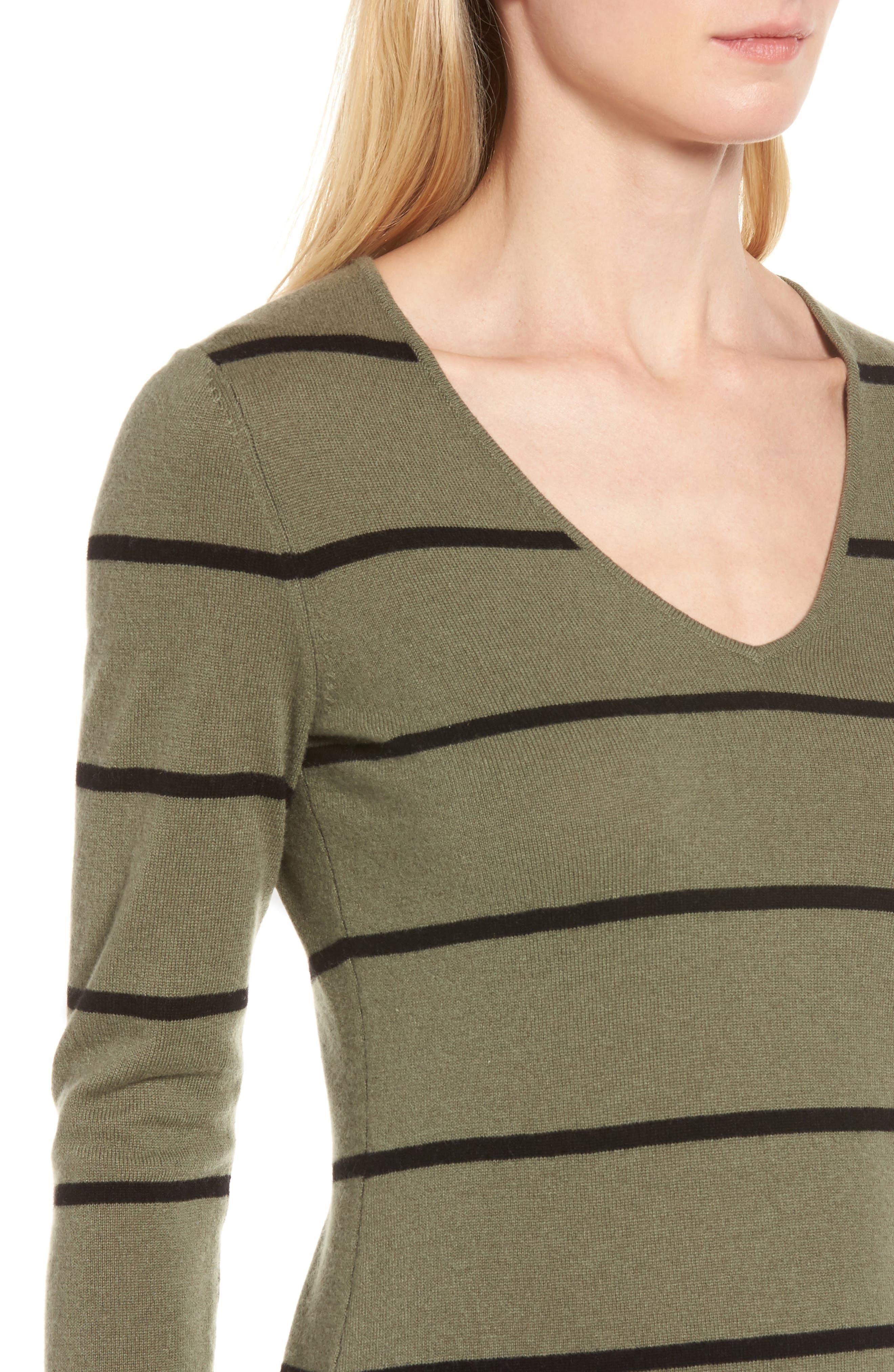Stripe Cashmere Sweater,                             Alternate thumbnail 4, color,                             315