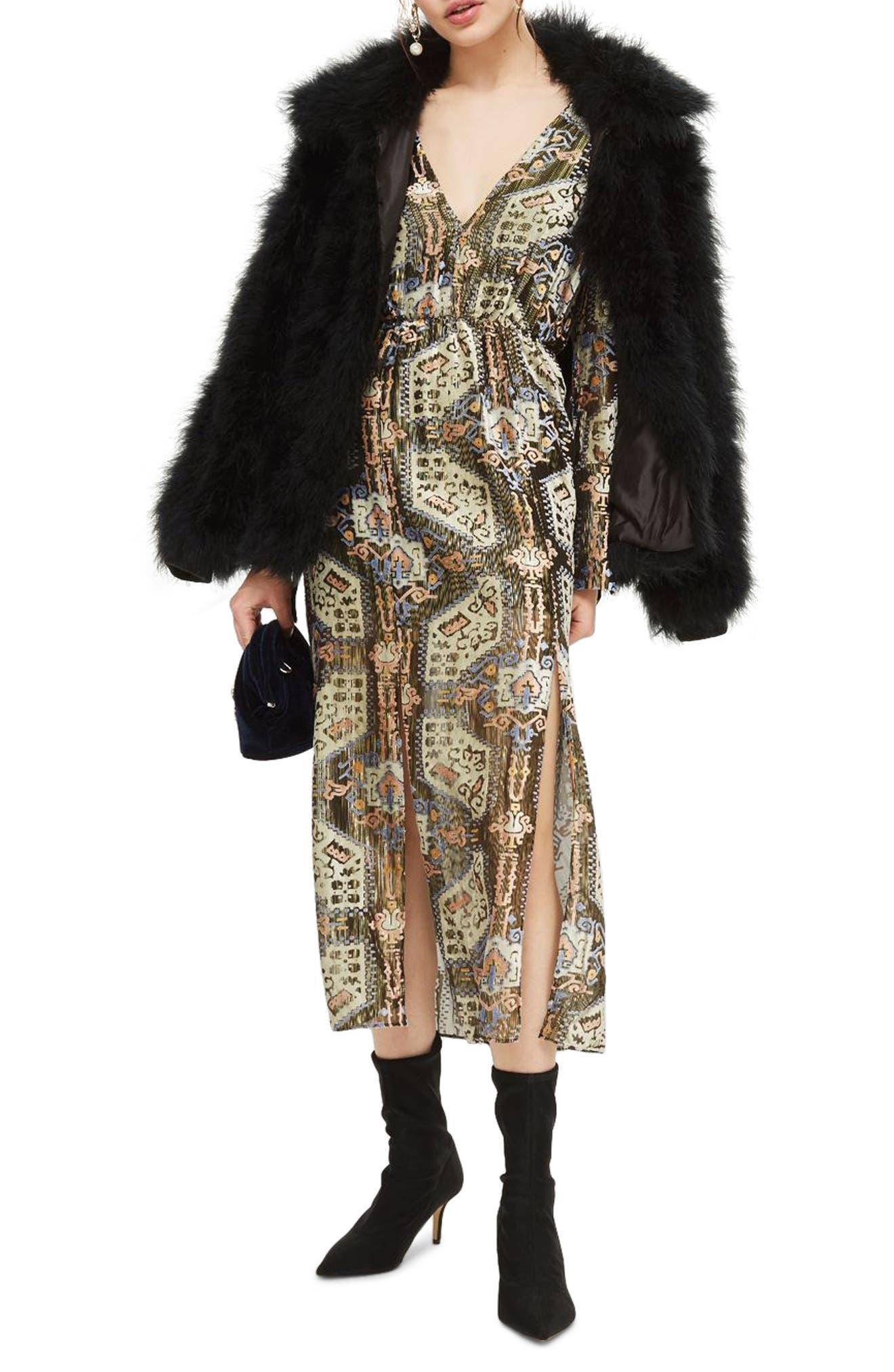 Devore Plunge Neck Dress, Main, color, 310