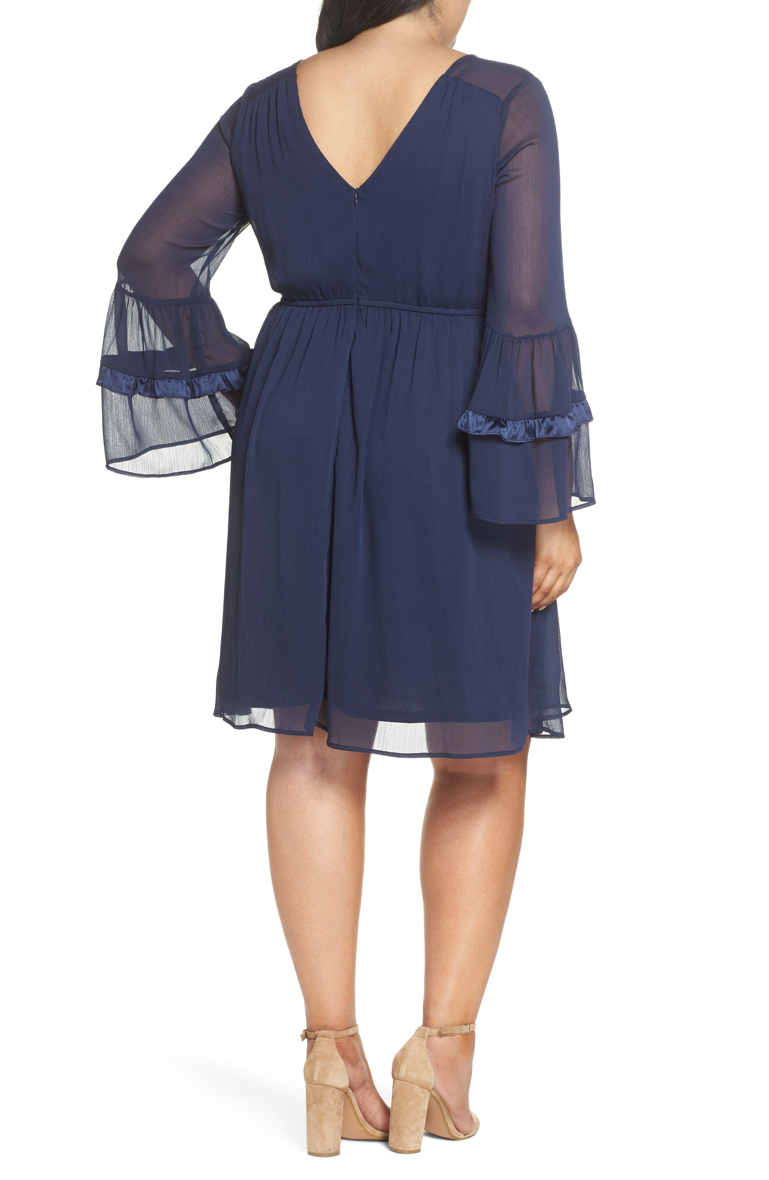 Satin Trim Chiffon Dress,                             Alternate thumbnail 2, color,                             NAVY