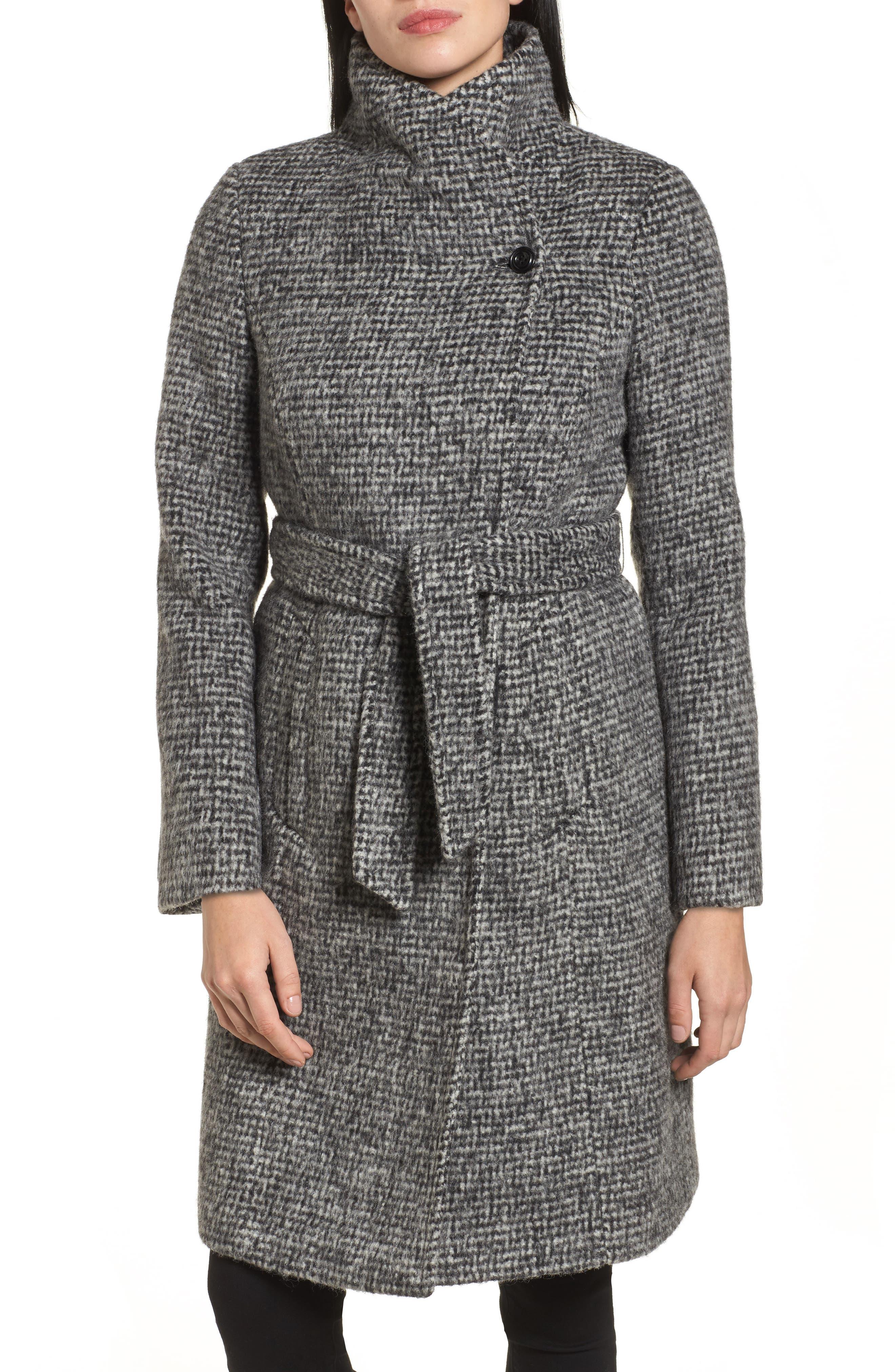 Wool Shawl Collar Wrap Coat,                             Alternate thumbnail 4, color,                             012