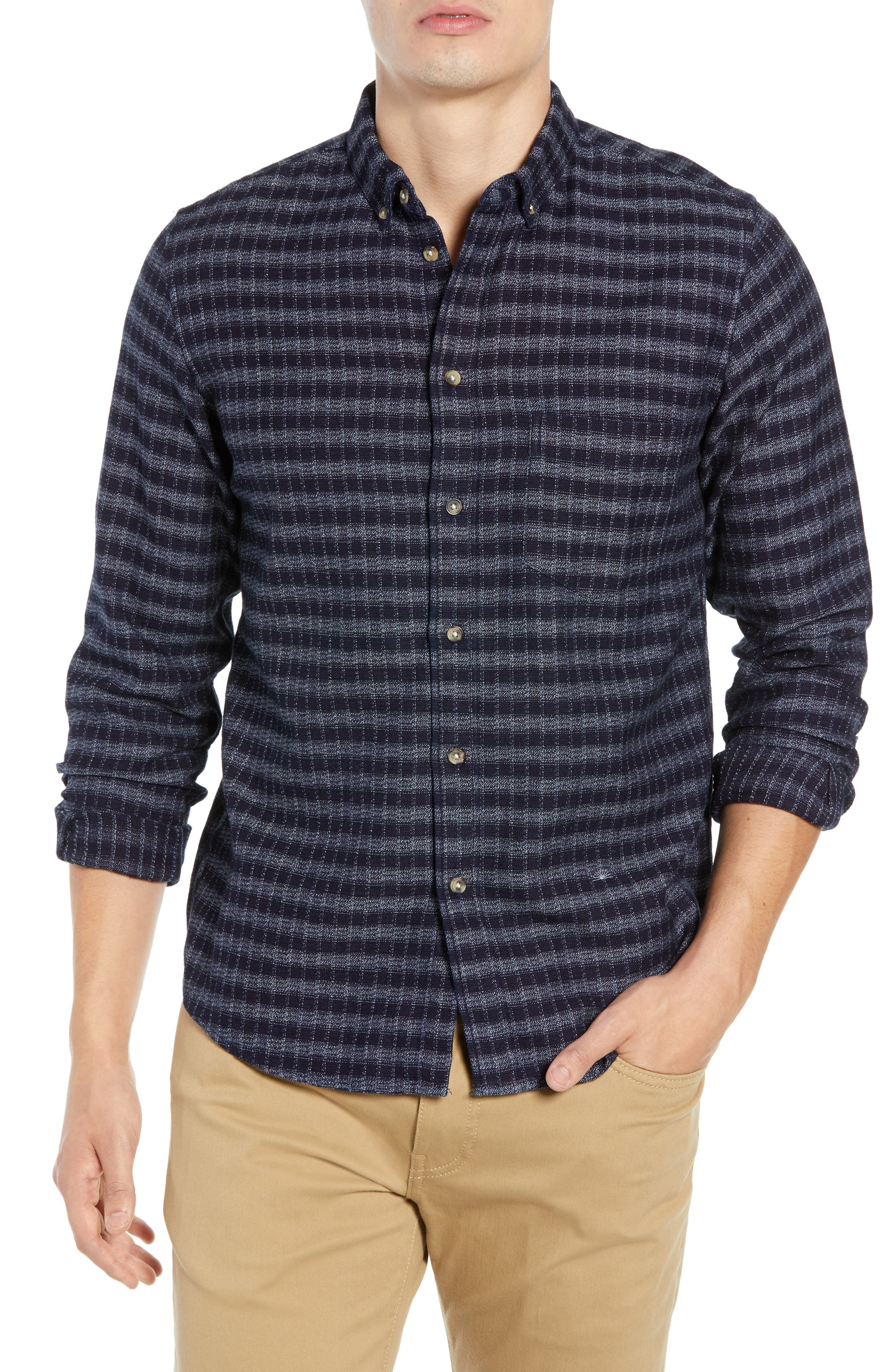 Standard Check Sport Shirt,                         Main,                         color, INDIGO CHECK