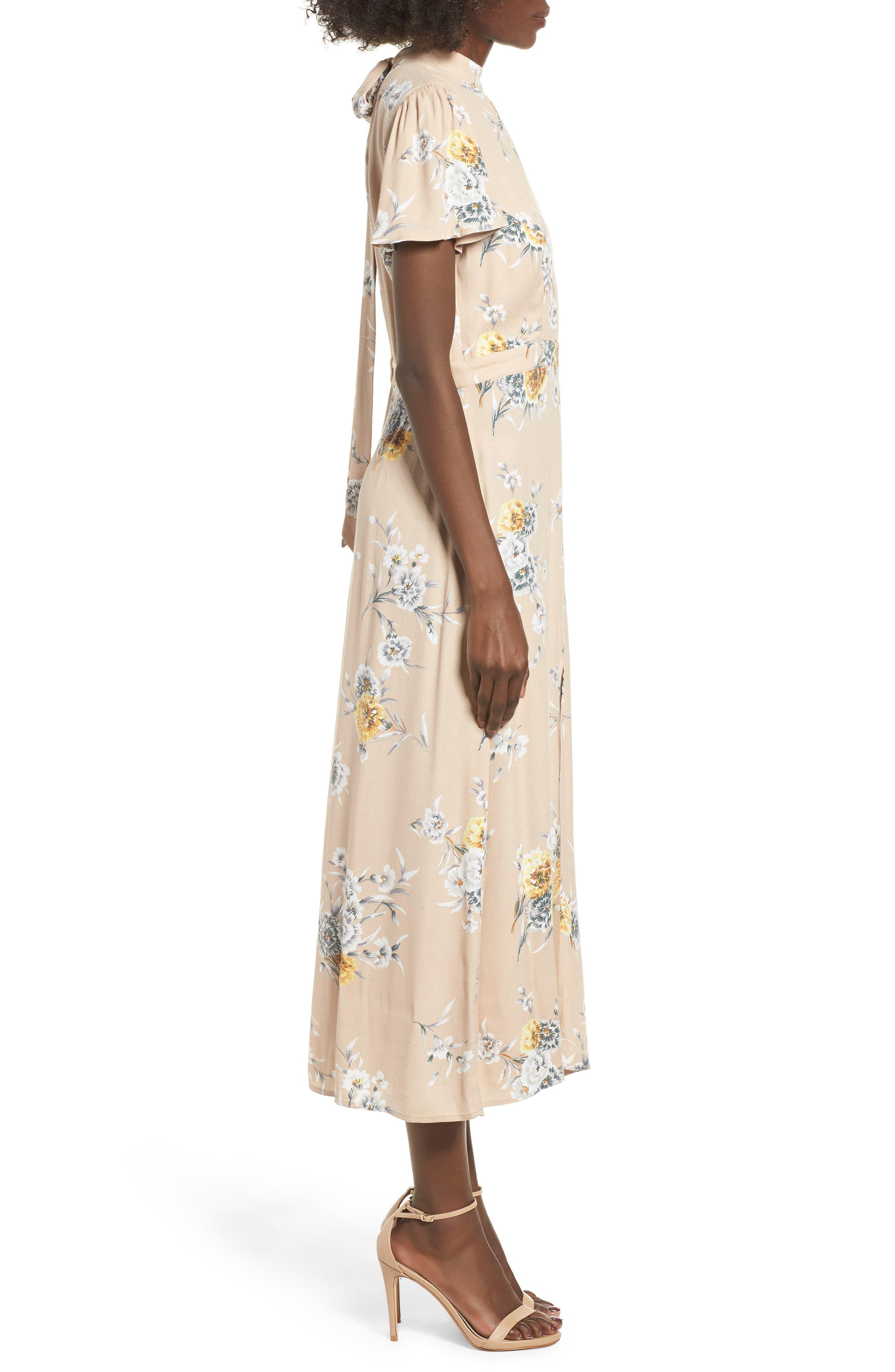 Aliana Tie Detail Dress,                             Alternate thumbnail 3, color,                             BEIGE BOUQUET