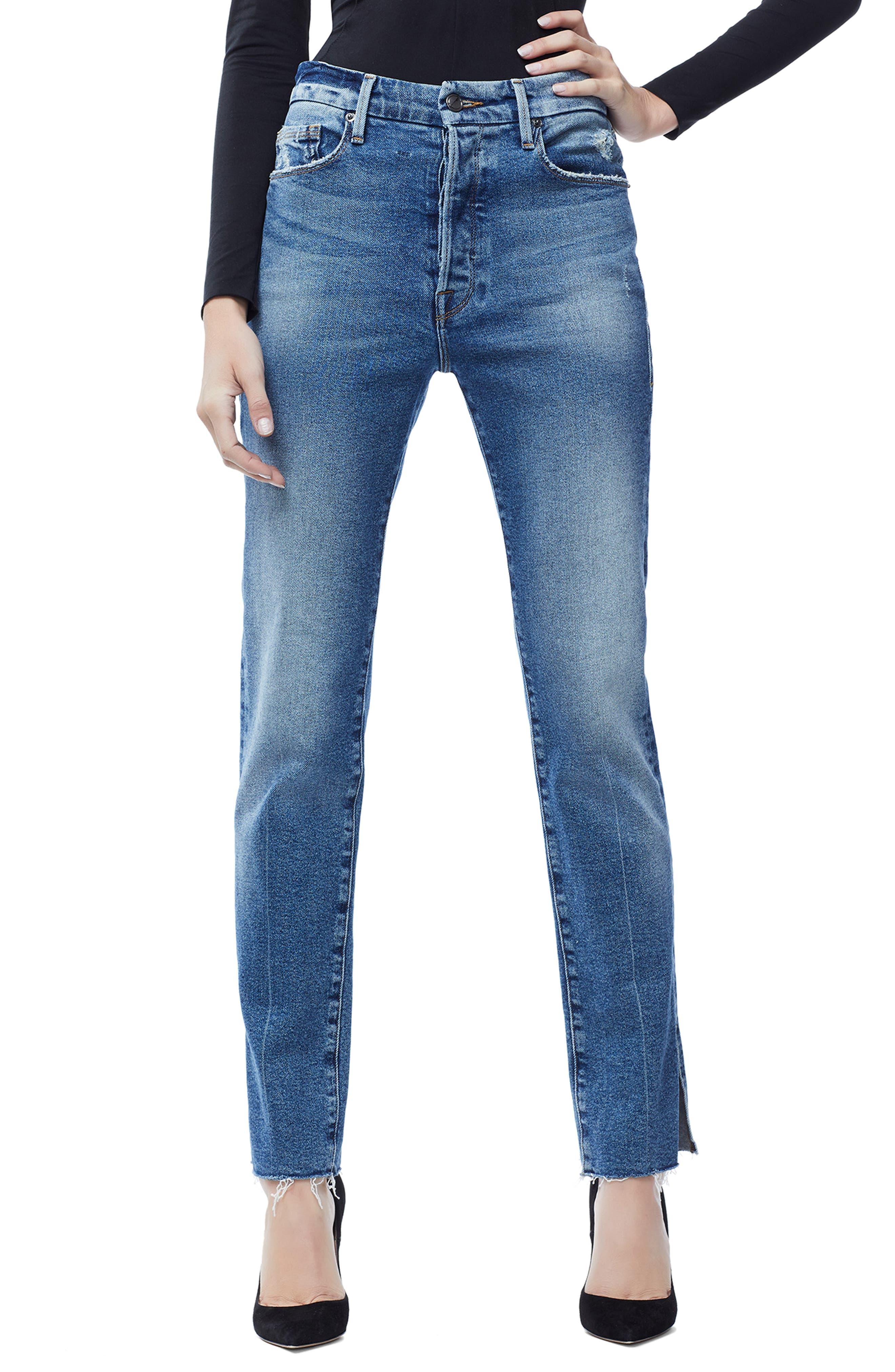 Good Boy Raw Hem Boyfriend Jeans, Main, color, BLUE 176