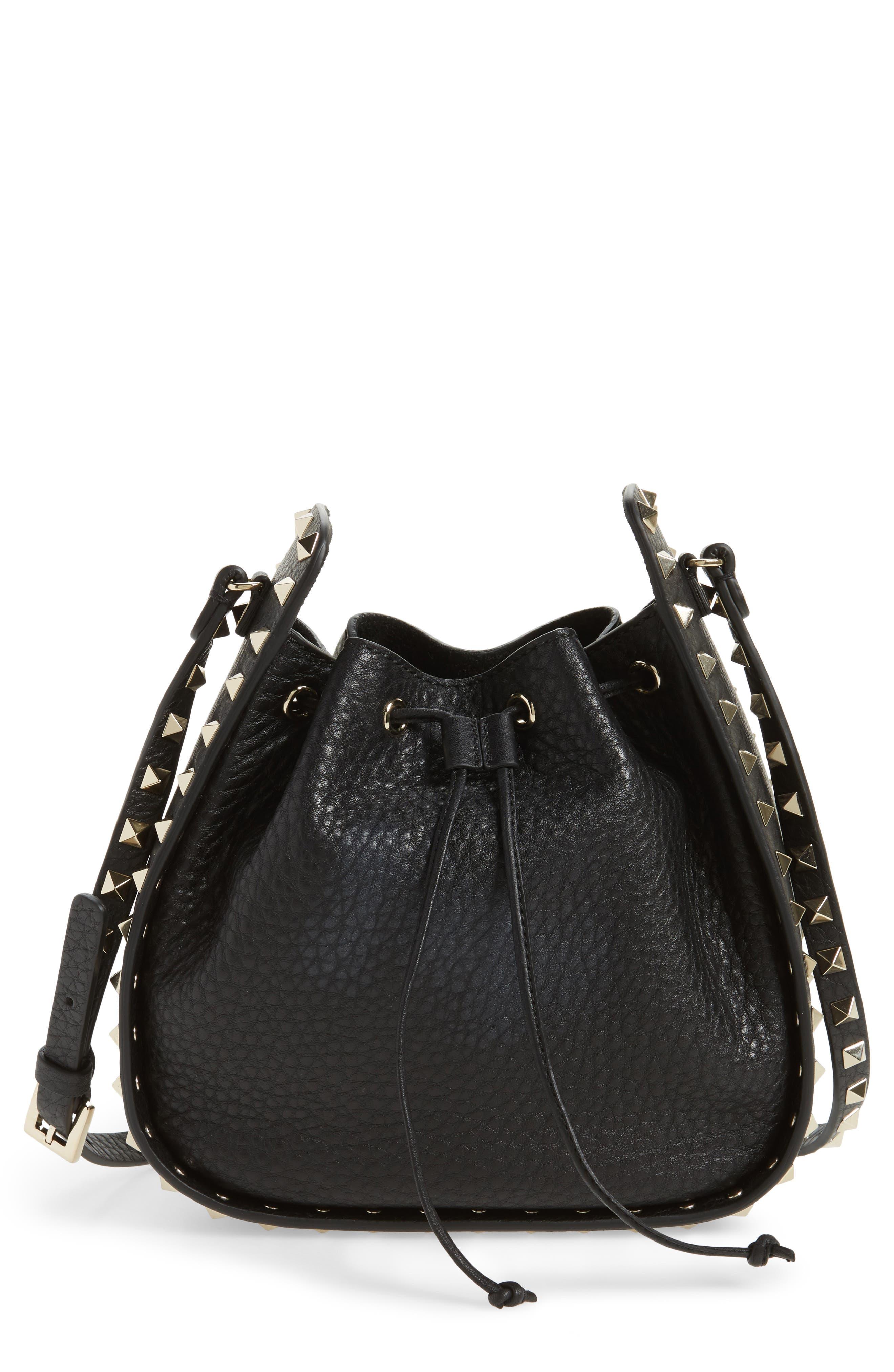 Rockstud Leather Bucket Bag,                         Main,                         color, 001