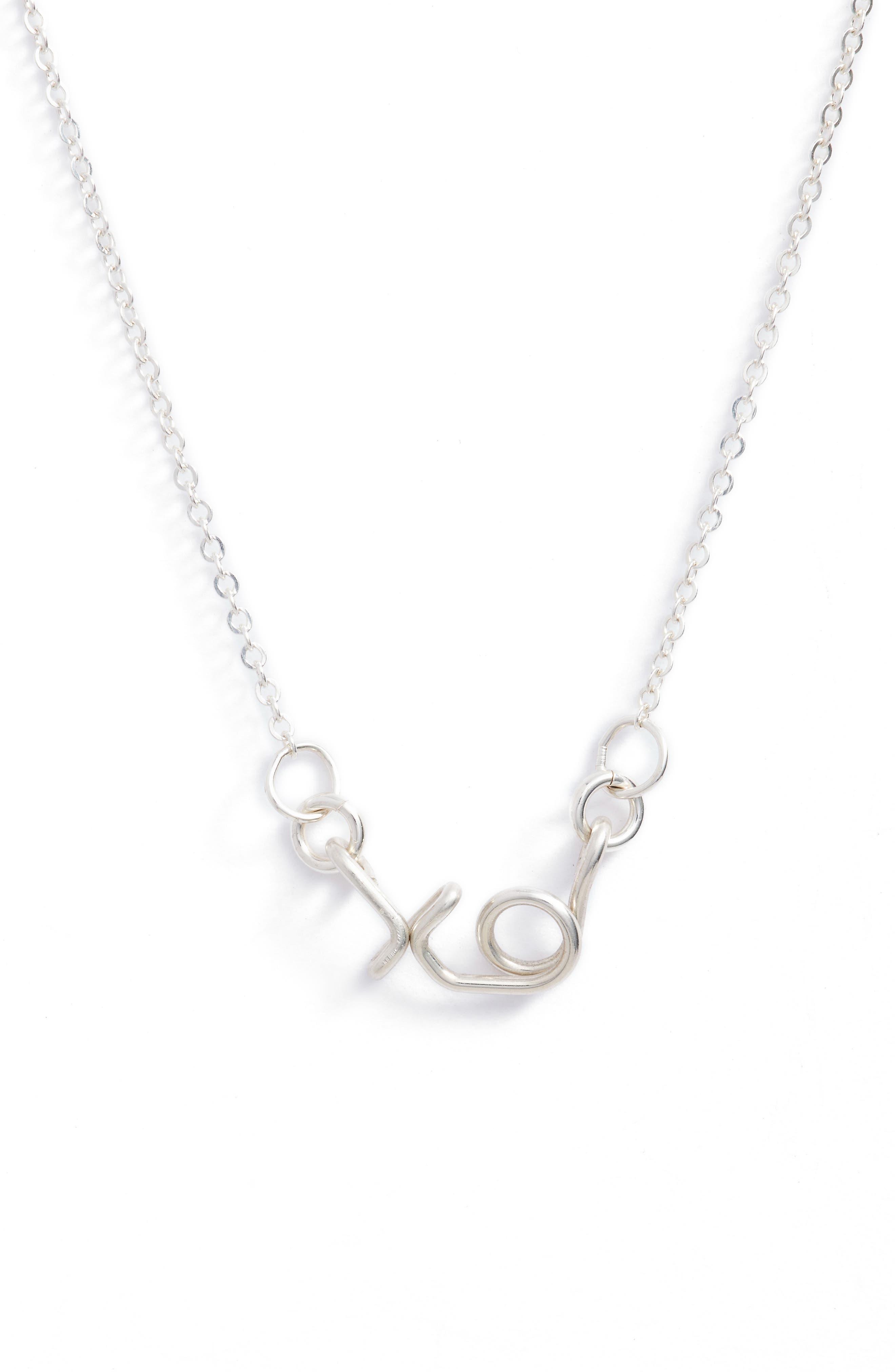 Mini XO Pendant Necklace,                         Main,                         color, 040