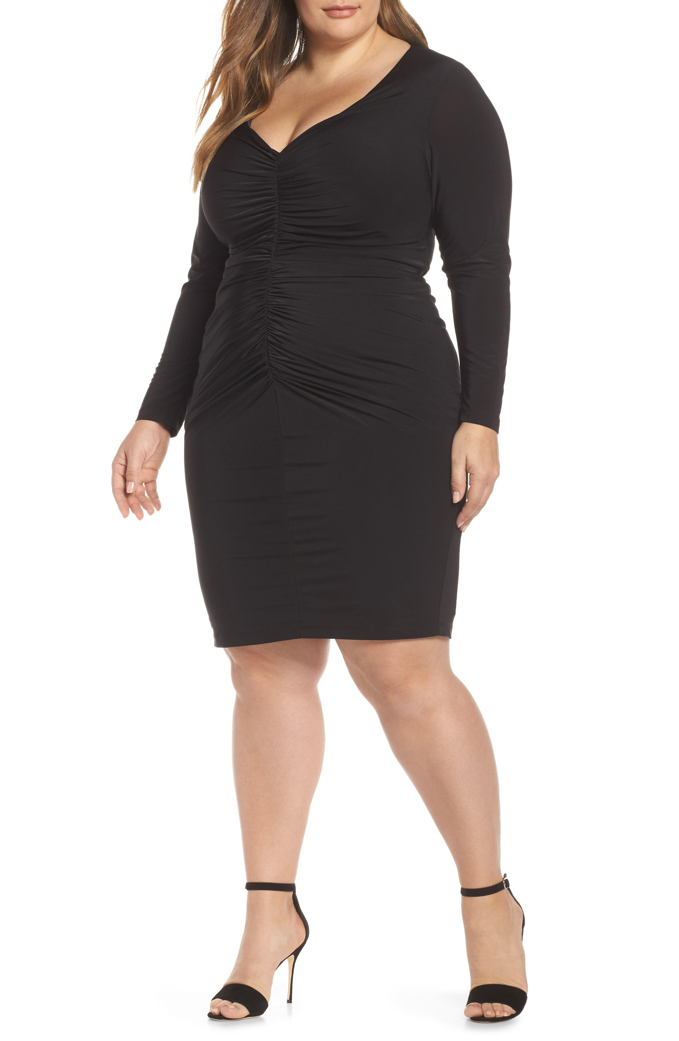 Plus Size Eliza J Ruched Body-Con Dress, Black