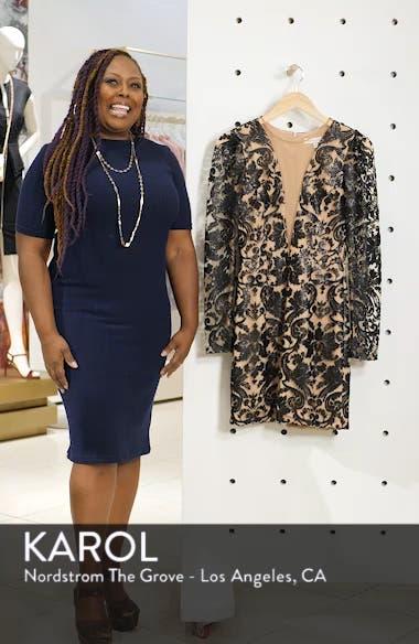 Claudia Plunging Illusion Sequin Lace Minidress, sales video thumbnail