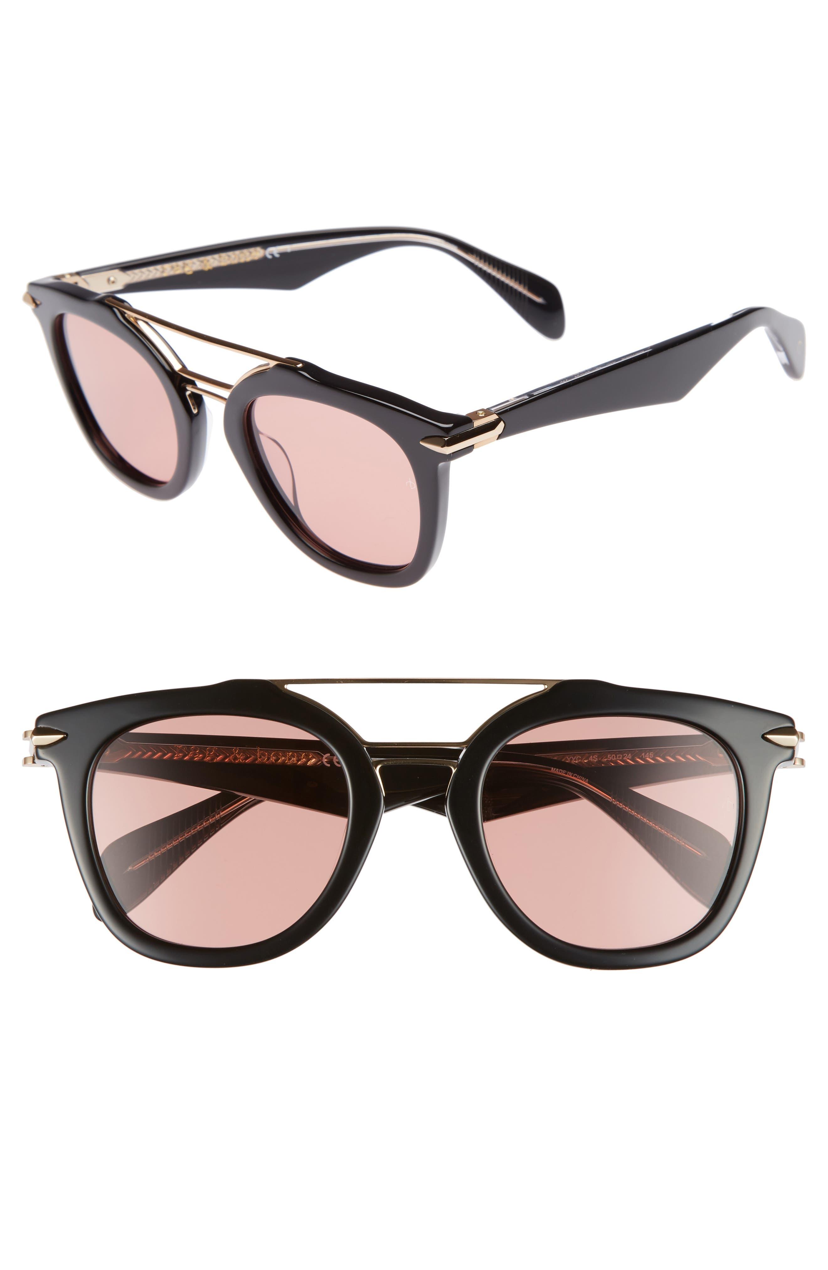 50mm Round Aviator Sunglasses,                         Main,                         color, BLACK/ GOLD/ BRONZE