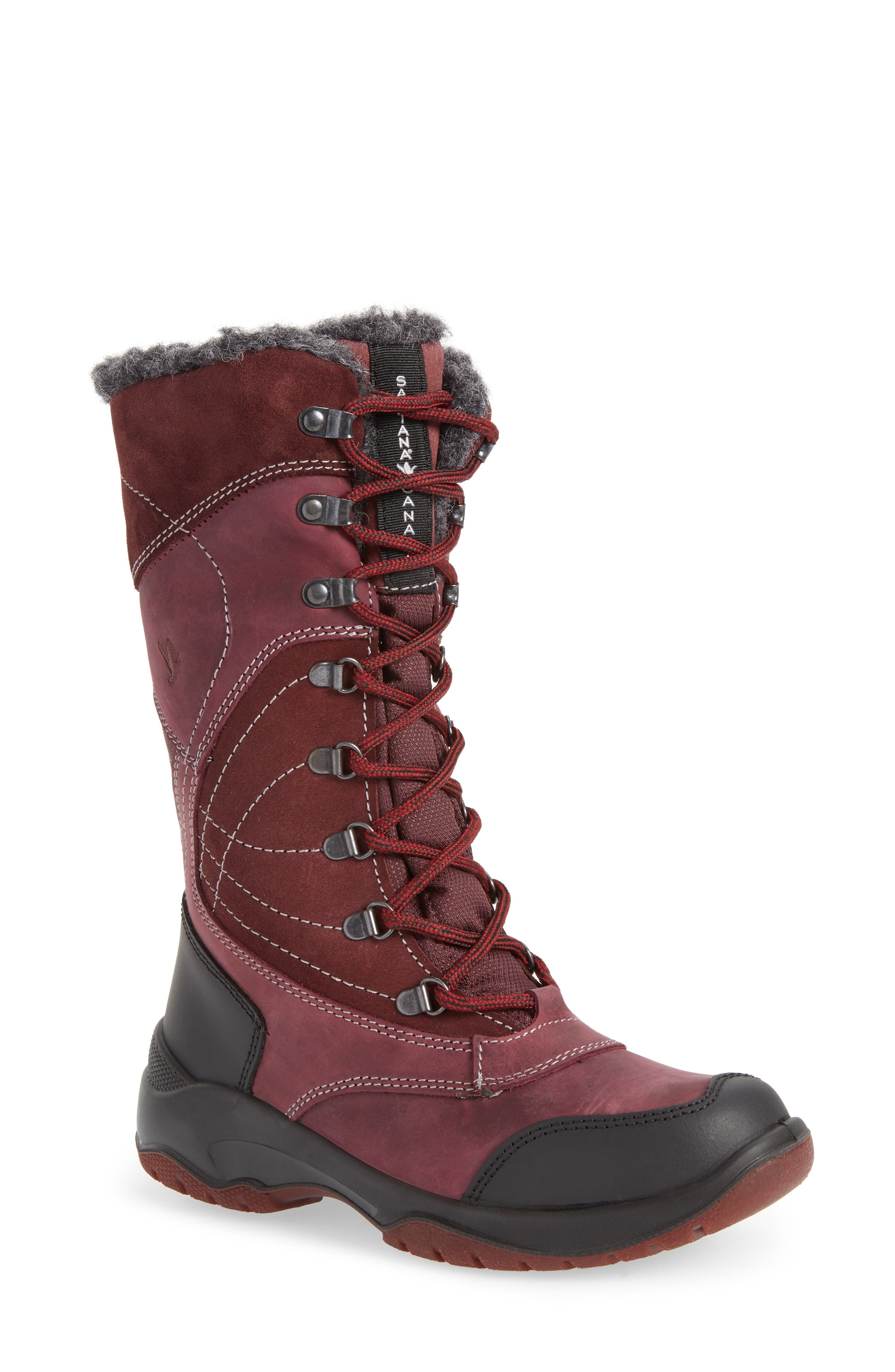 Topspeed Faux Fur Lined Waterproof Boot,                             Main thumbnail 1, color,                             BORDEAUX SUEDE