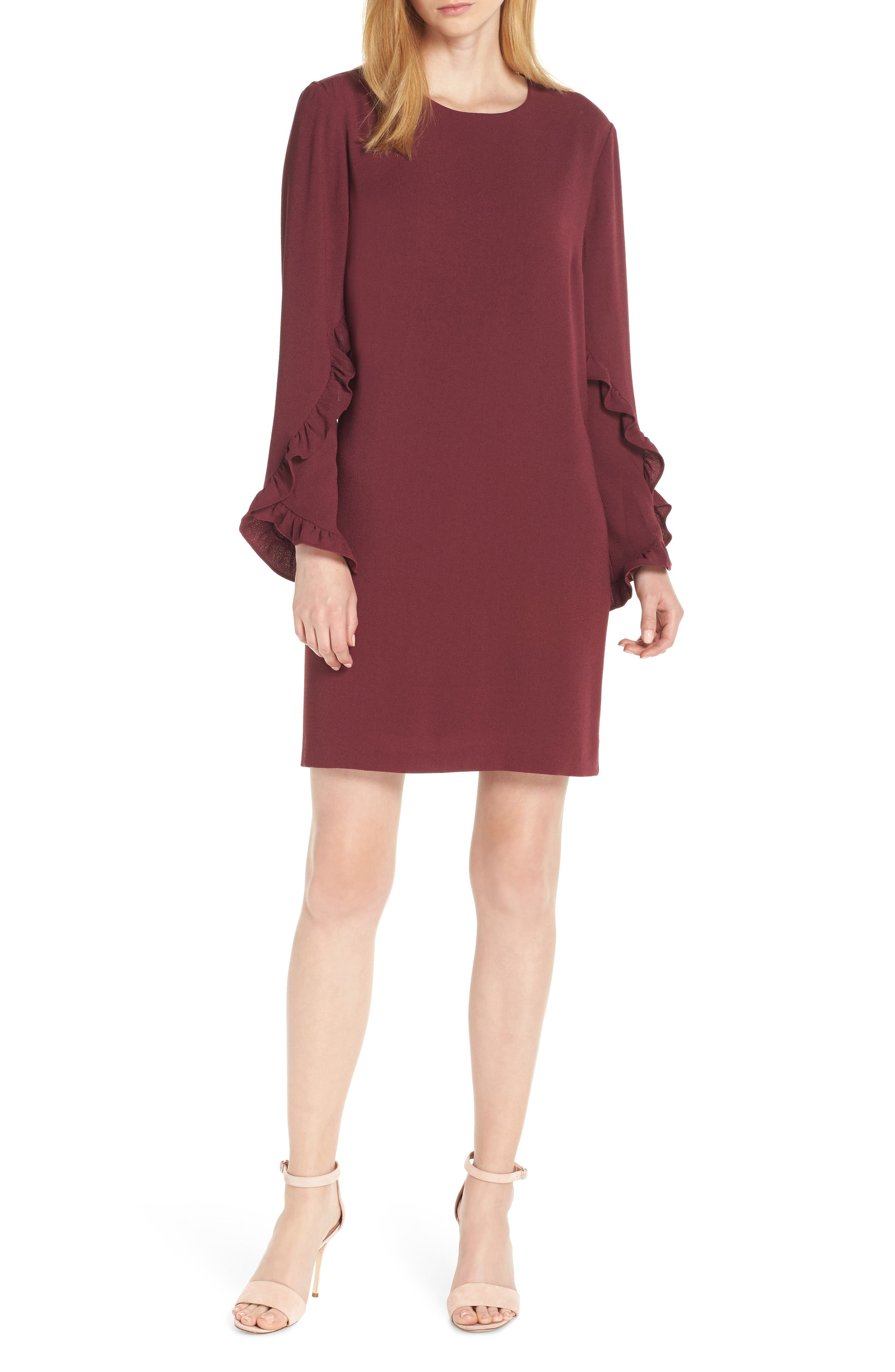CHARLES HENRY Tulip Sleeve Shift in Bordeux
