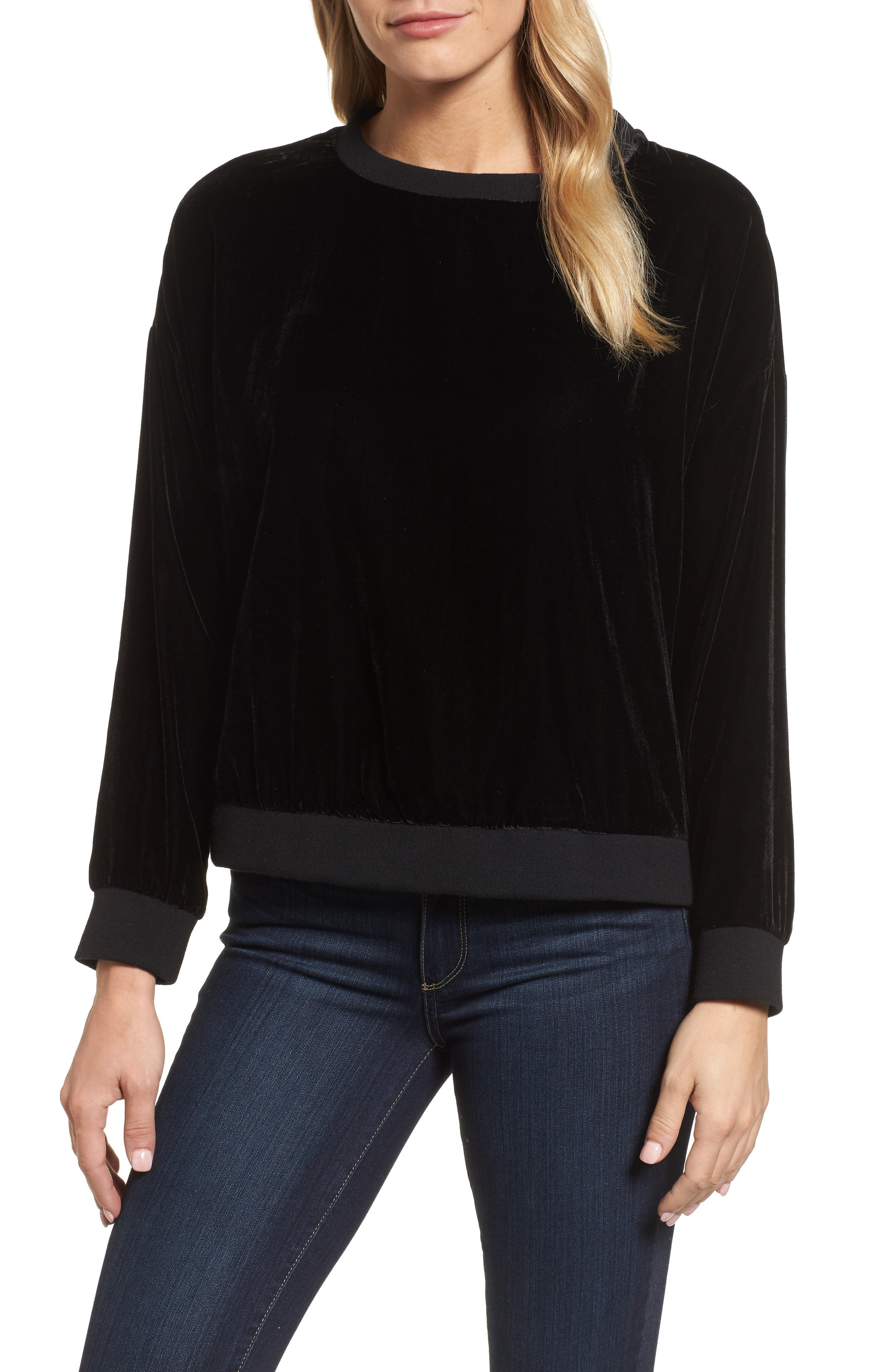 Zipper Velvet Sweatshirt,                         Main,                         color, BLACK
