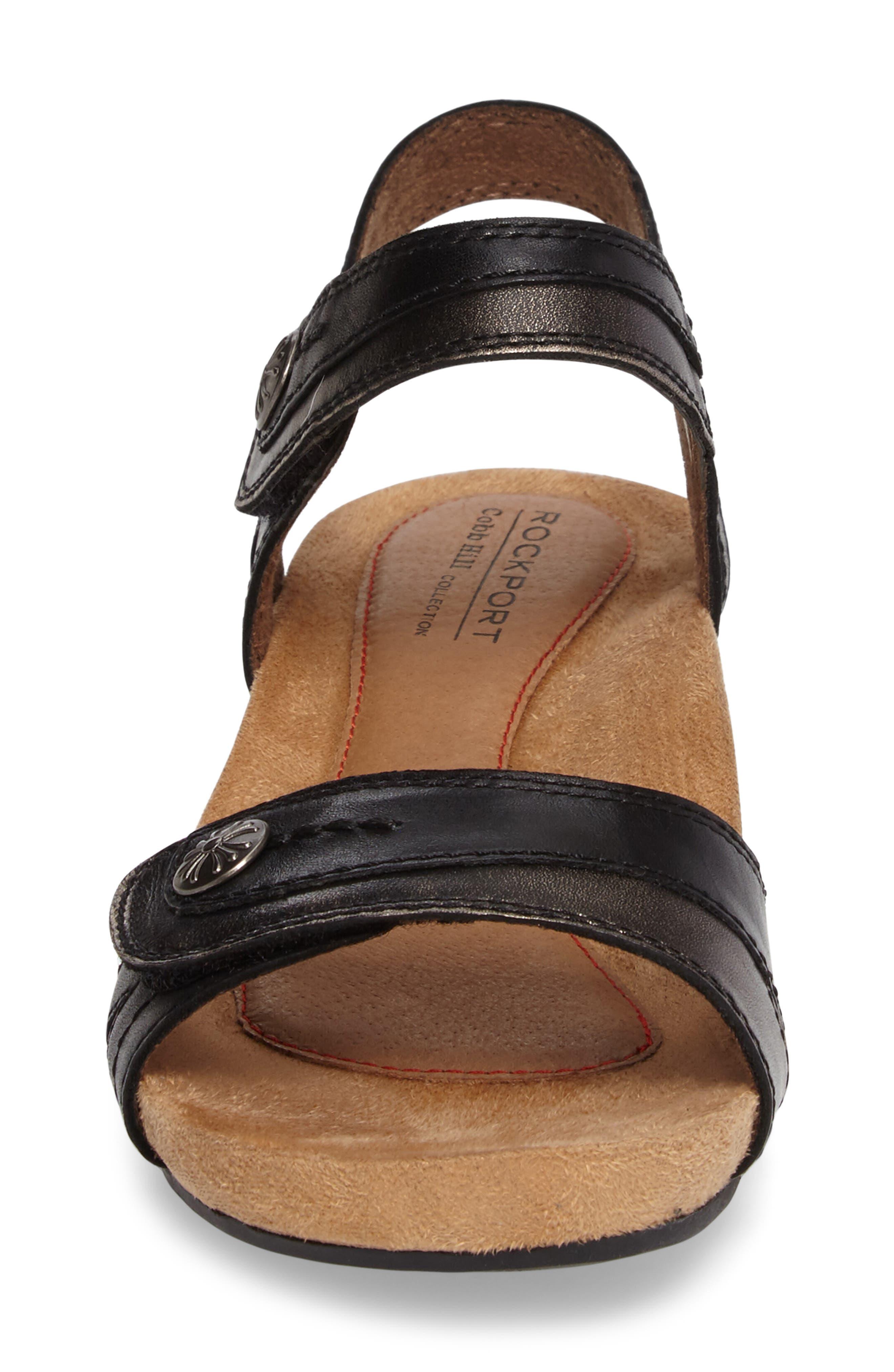 Hollywood Wedge Sandal,                             Alternate thumbnail 4, color,                             BLACK LEATHER