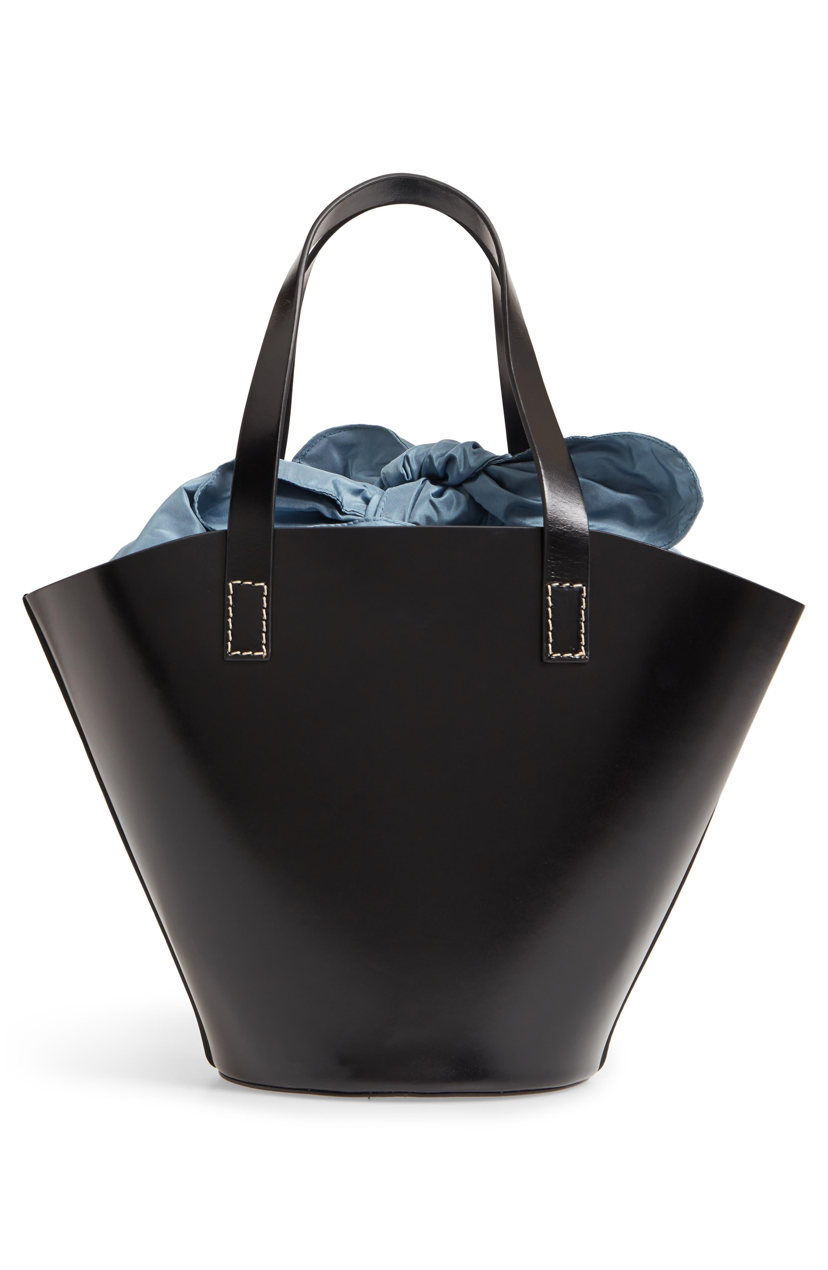 Large Leather Bucket Bag,                             Alternate thumbnail 3, color,                             BLACK W/ ENGLISH BLUE