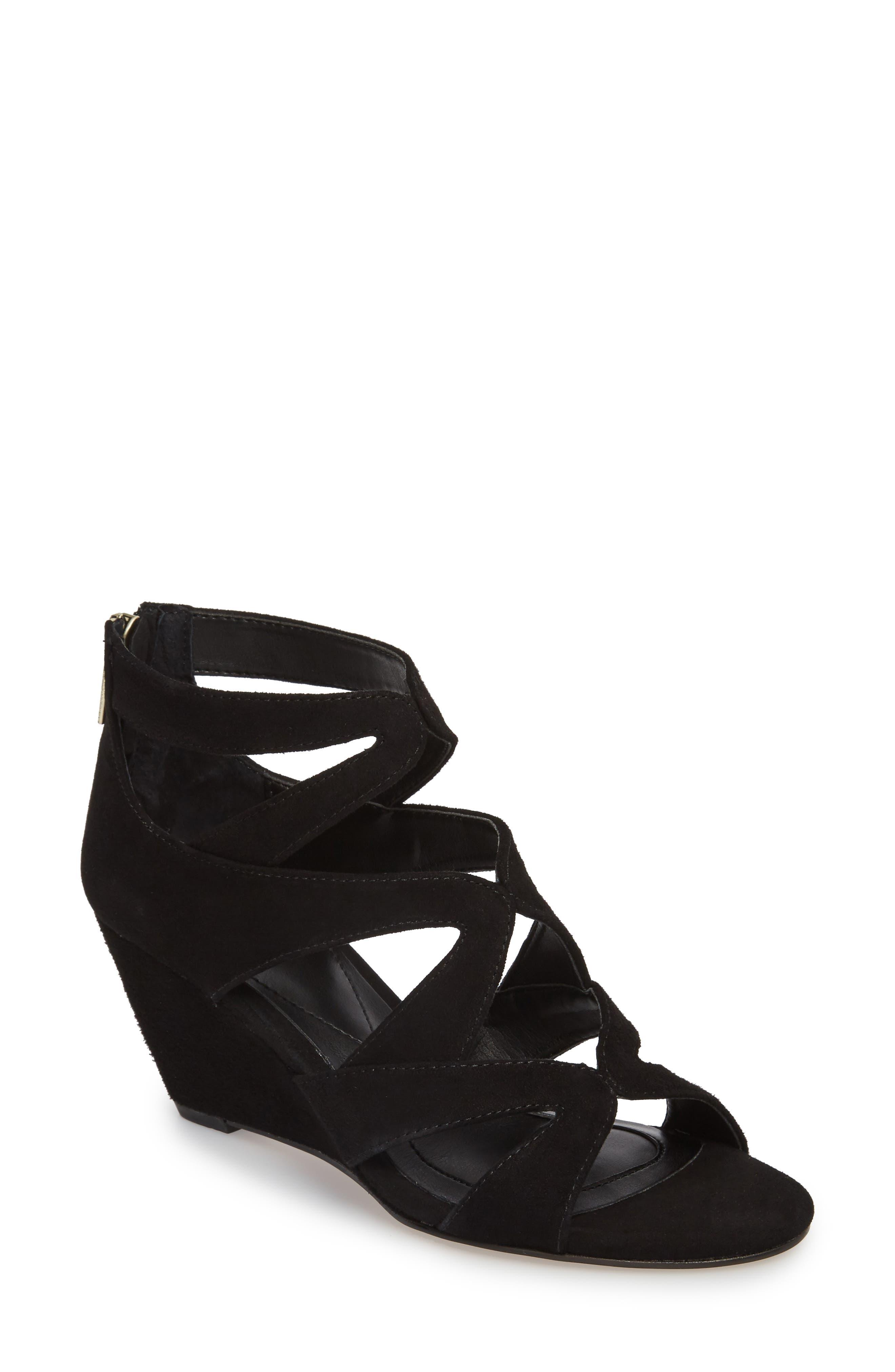 Filisha Wedge Sandal,                         Main,                         color, BLACK SUEDE