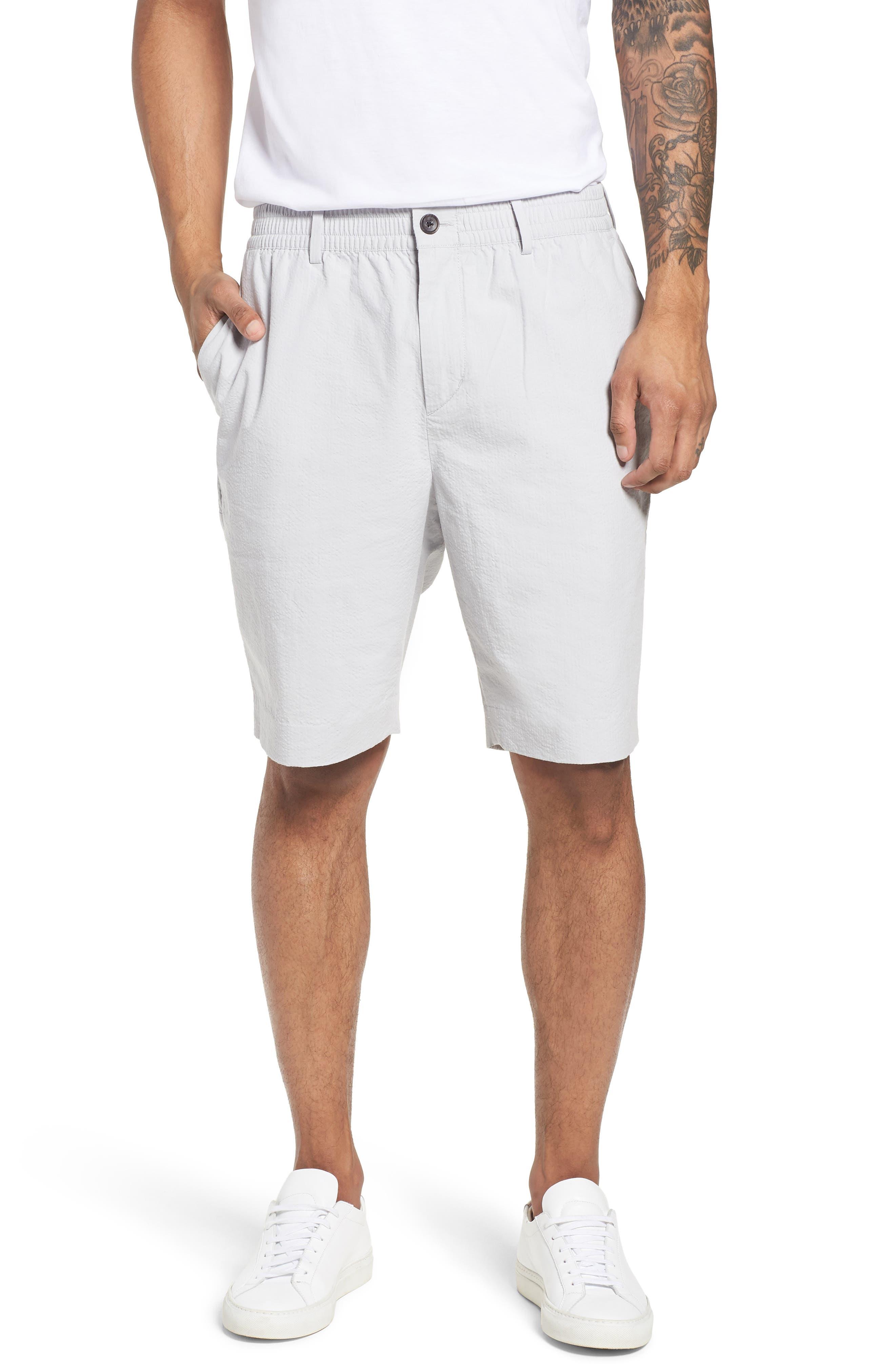 Elastic Waist Seersucker Shorts,                         Main,                         color, 030