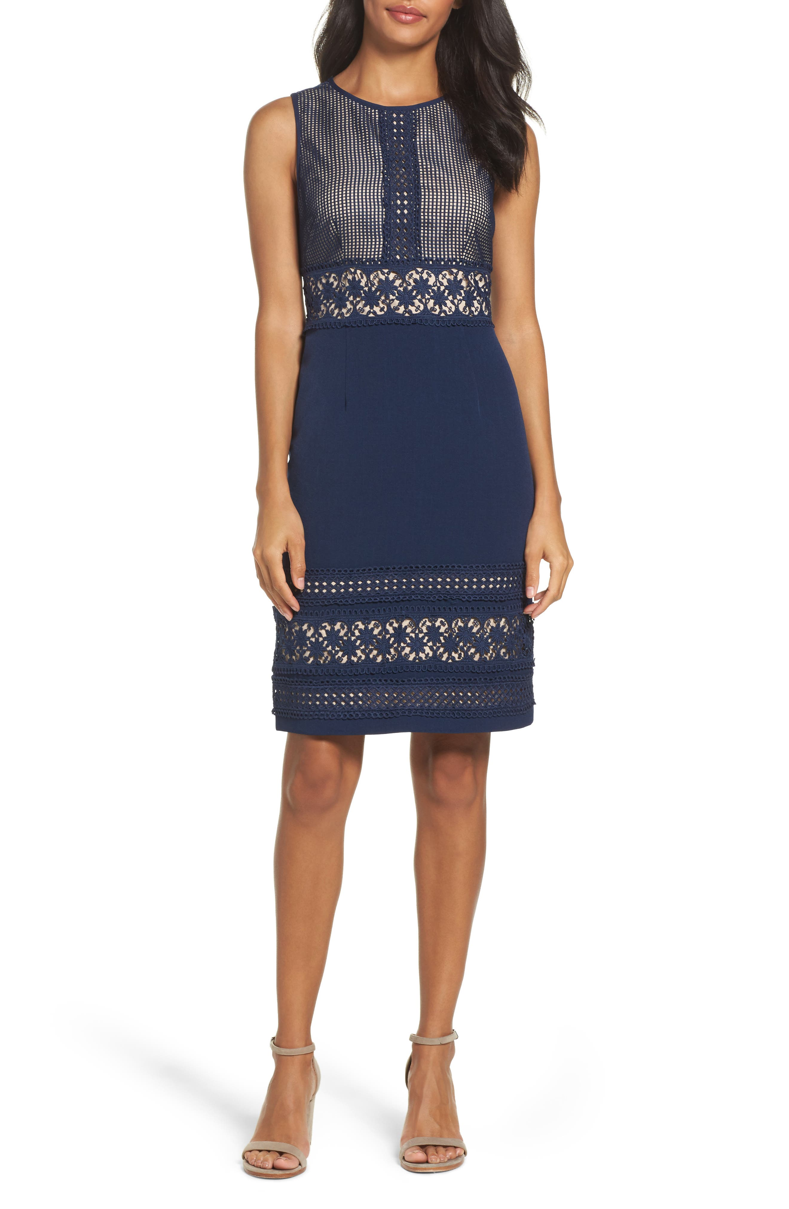 Lace & Crepe Sheath Dress,                         Main,                         color, 412