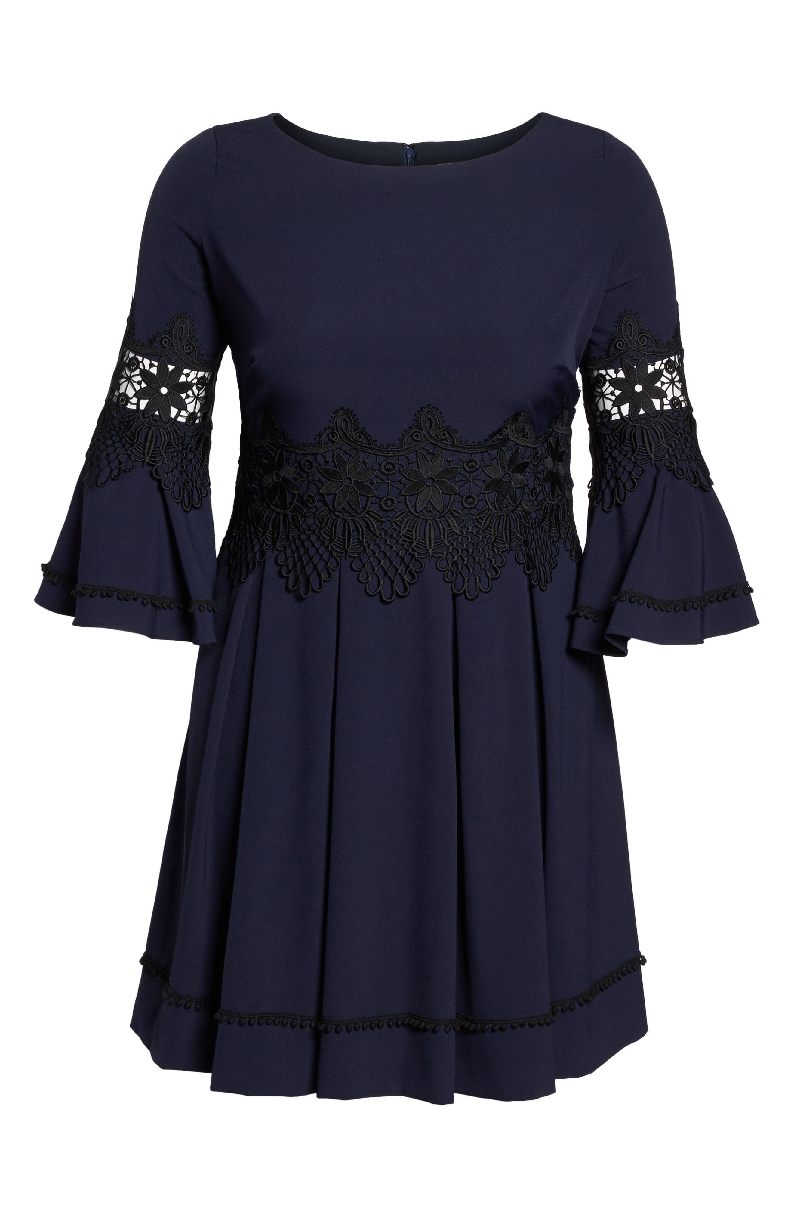 Lace Appliqué A-Line Dress,                             Alternate thumbnail 6, color,                             488