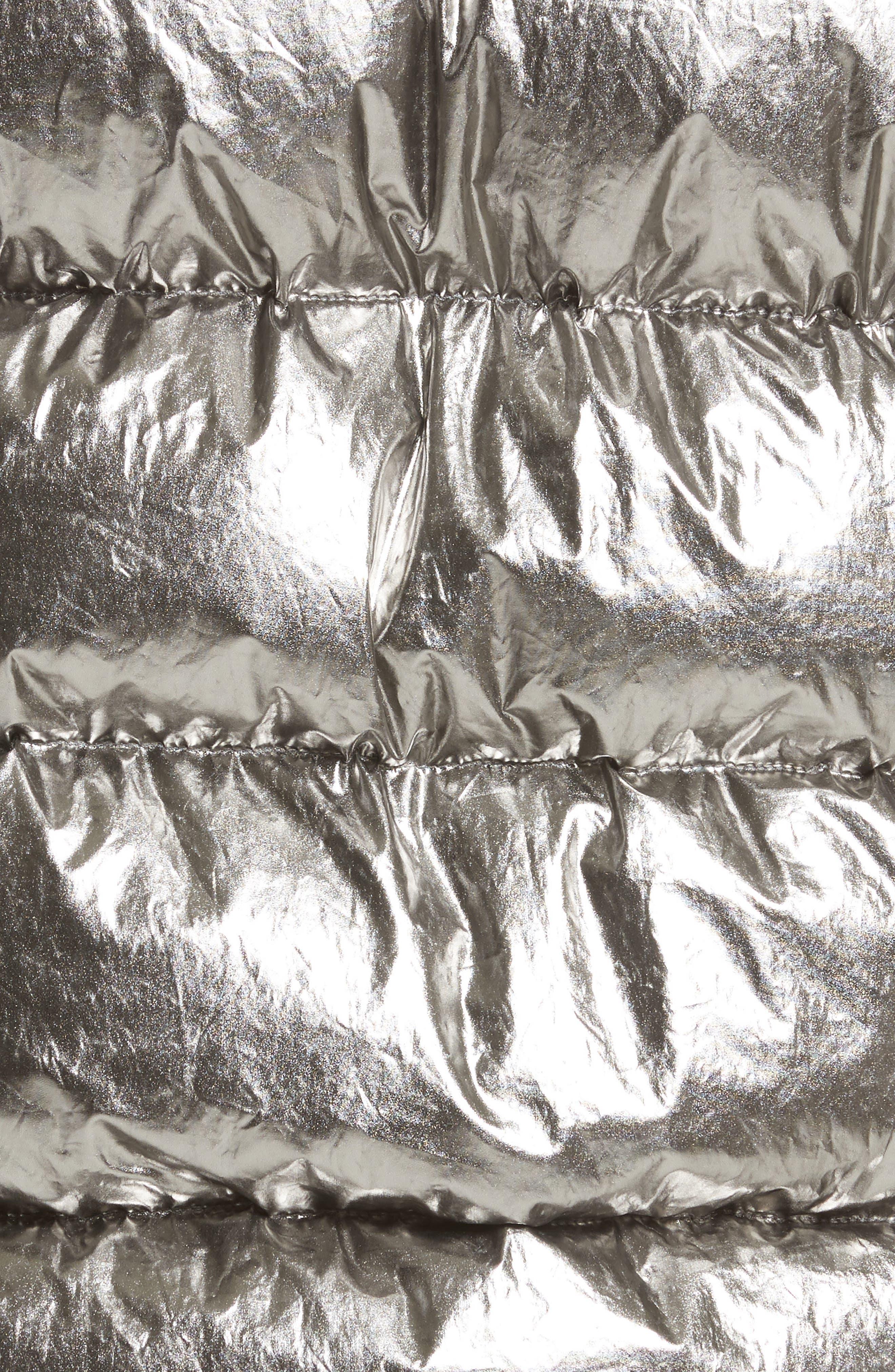 Kerria Metallic Down Vest with Genuine Shearling Trim,                             Alternate thumbnail 6, color,                             040
