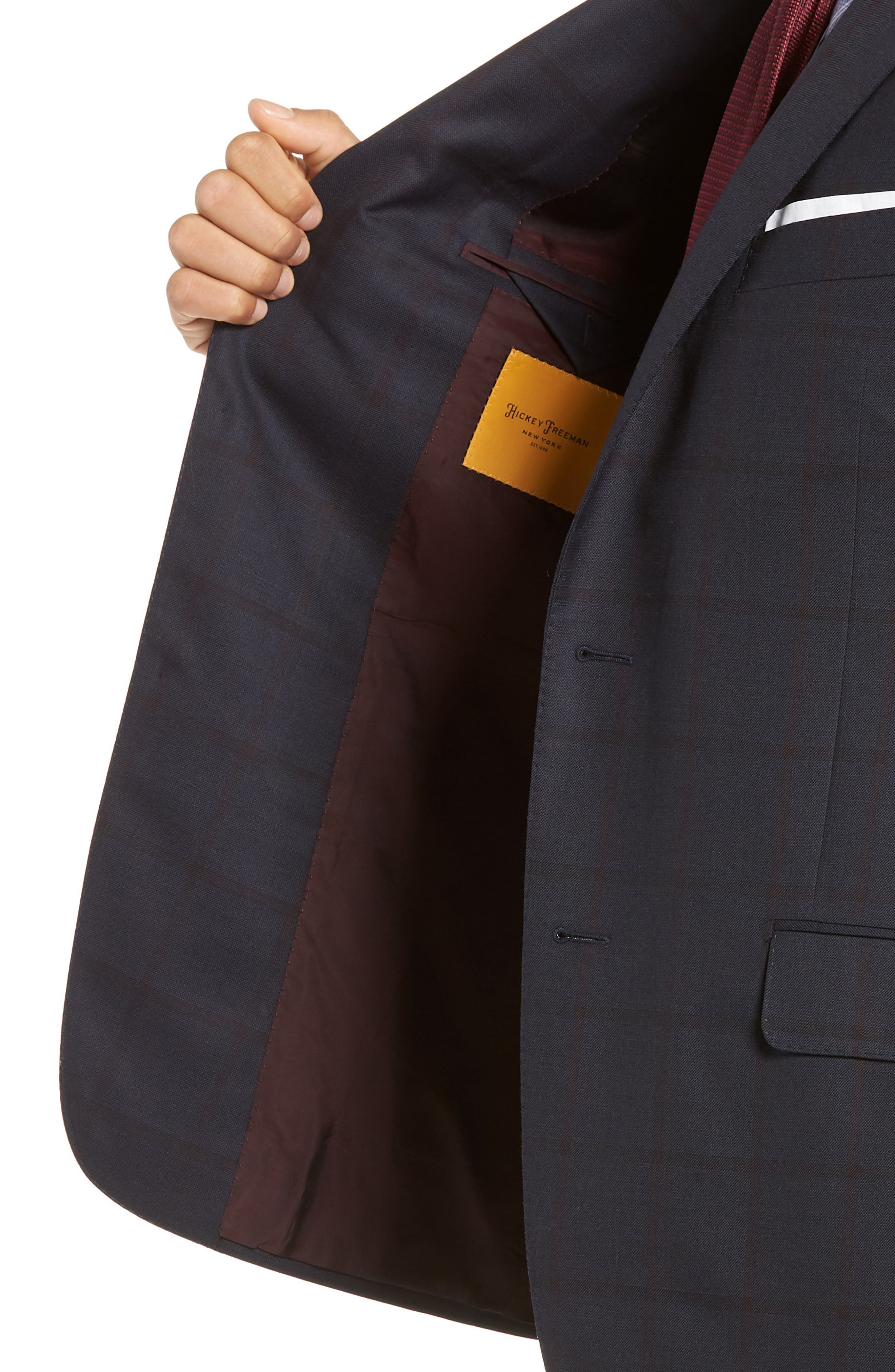 Classic Fit Windowpane Wool Suit,                             Alternate thumbnail 4, color,                             NAVY