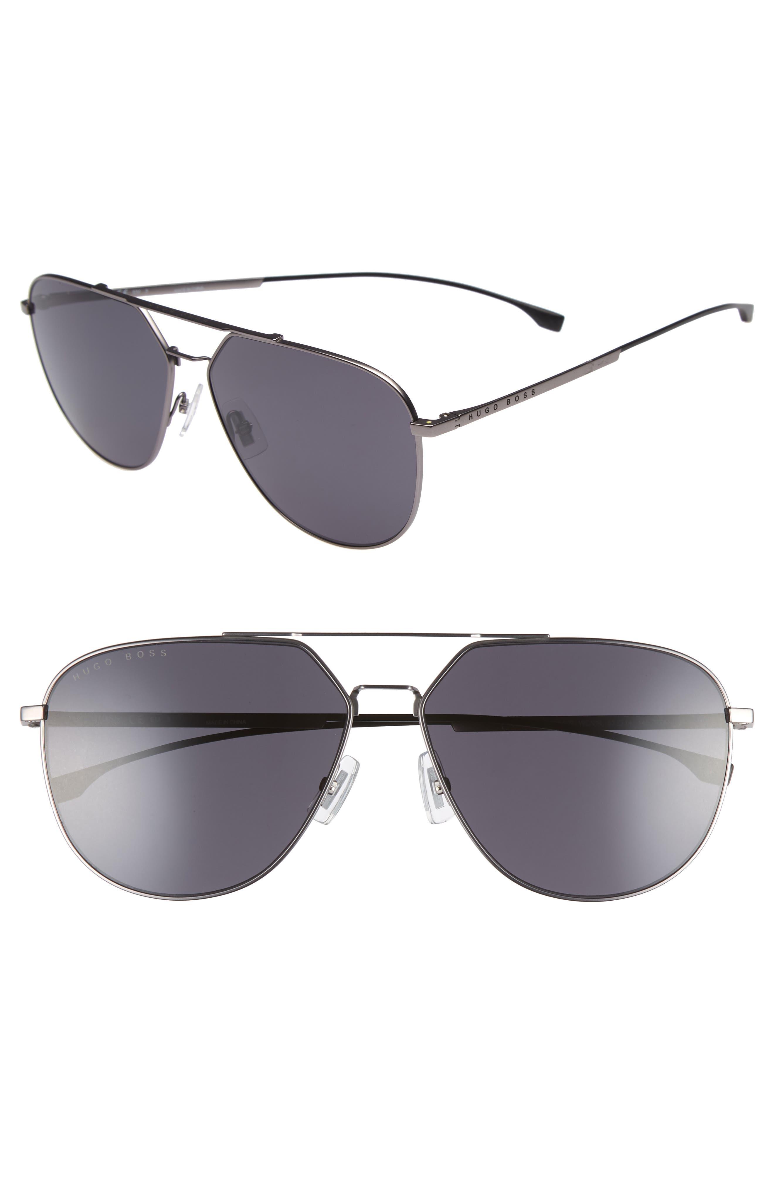 BOSS 63mm Polarized Aviator Sunglasses, Main, color, SMOKE GREY/ BLACK