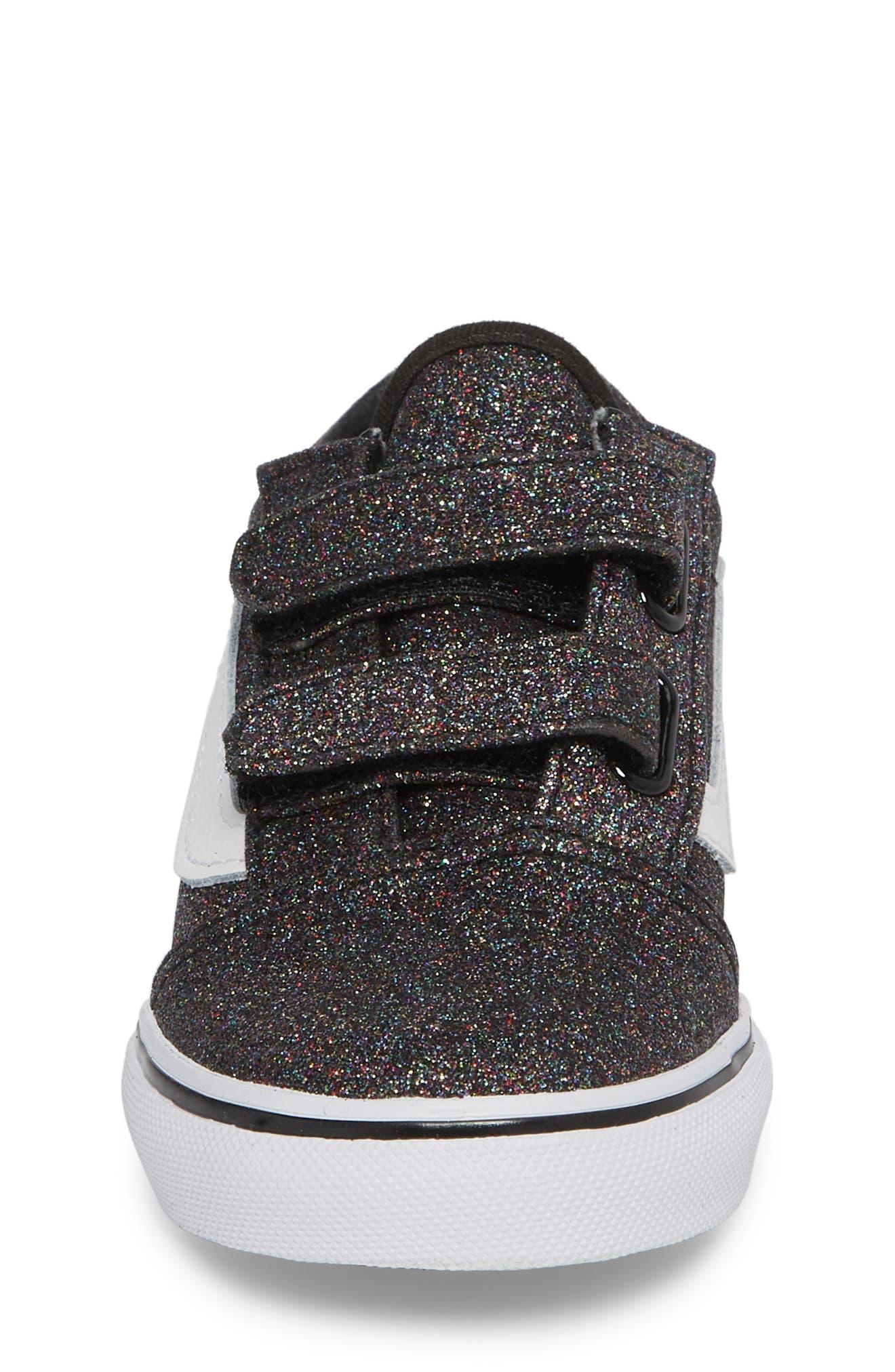 Old Skool V Glitter Sneaker,                             Alternate thumbnail 4, color,                             001