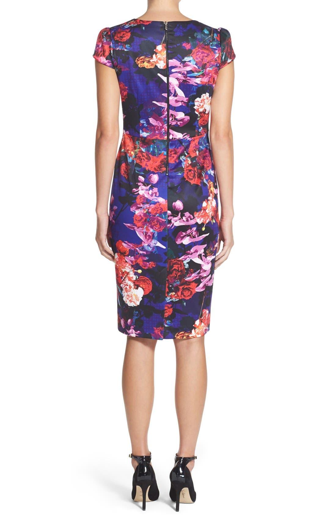 Print Stretch Midi Dress,                             Alternate thumbnail 2, color,                             002