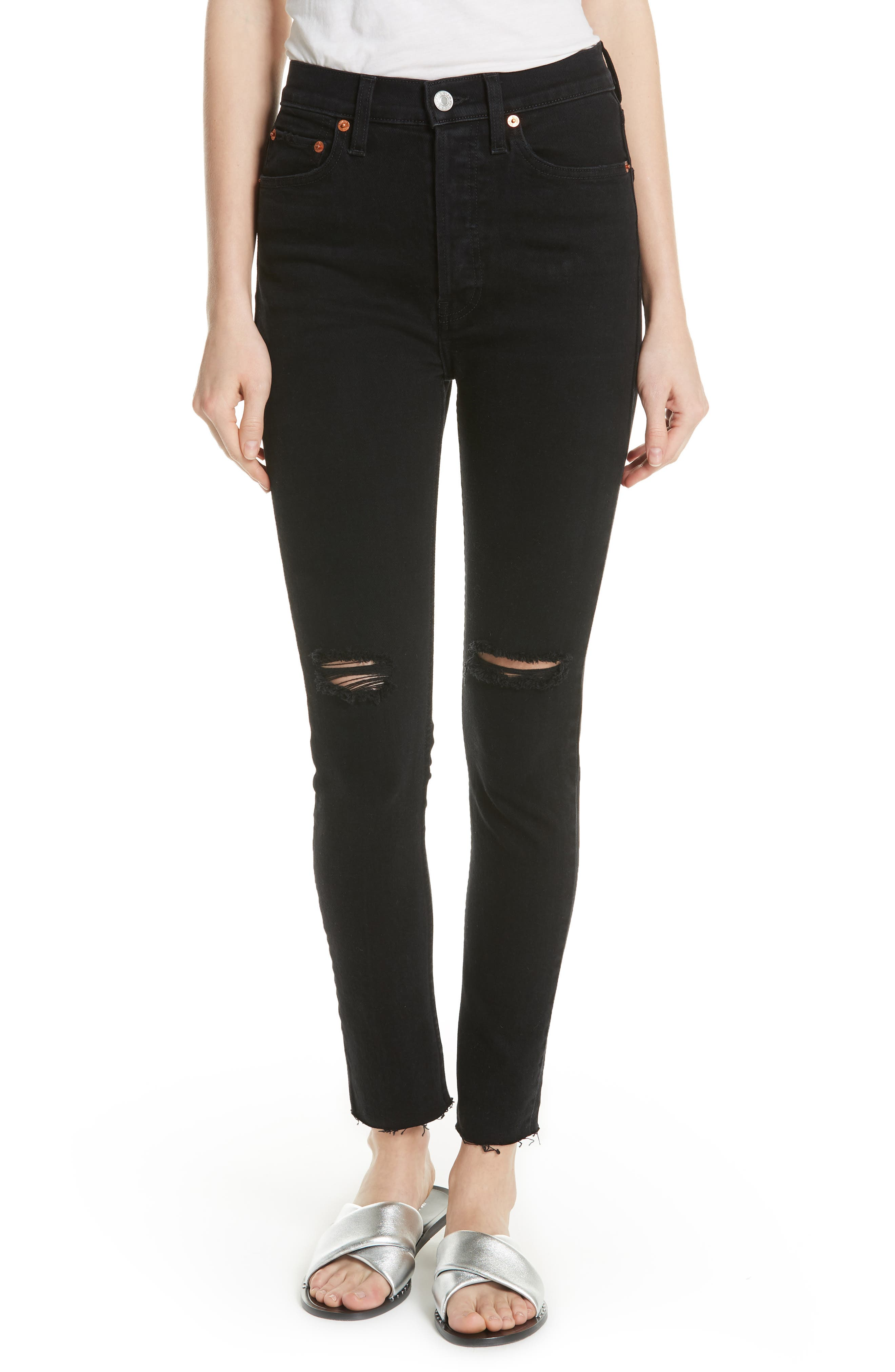 High Waist Stretch Ankle Jeans,                         Main,                         color, BLACK DESTROY