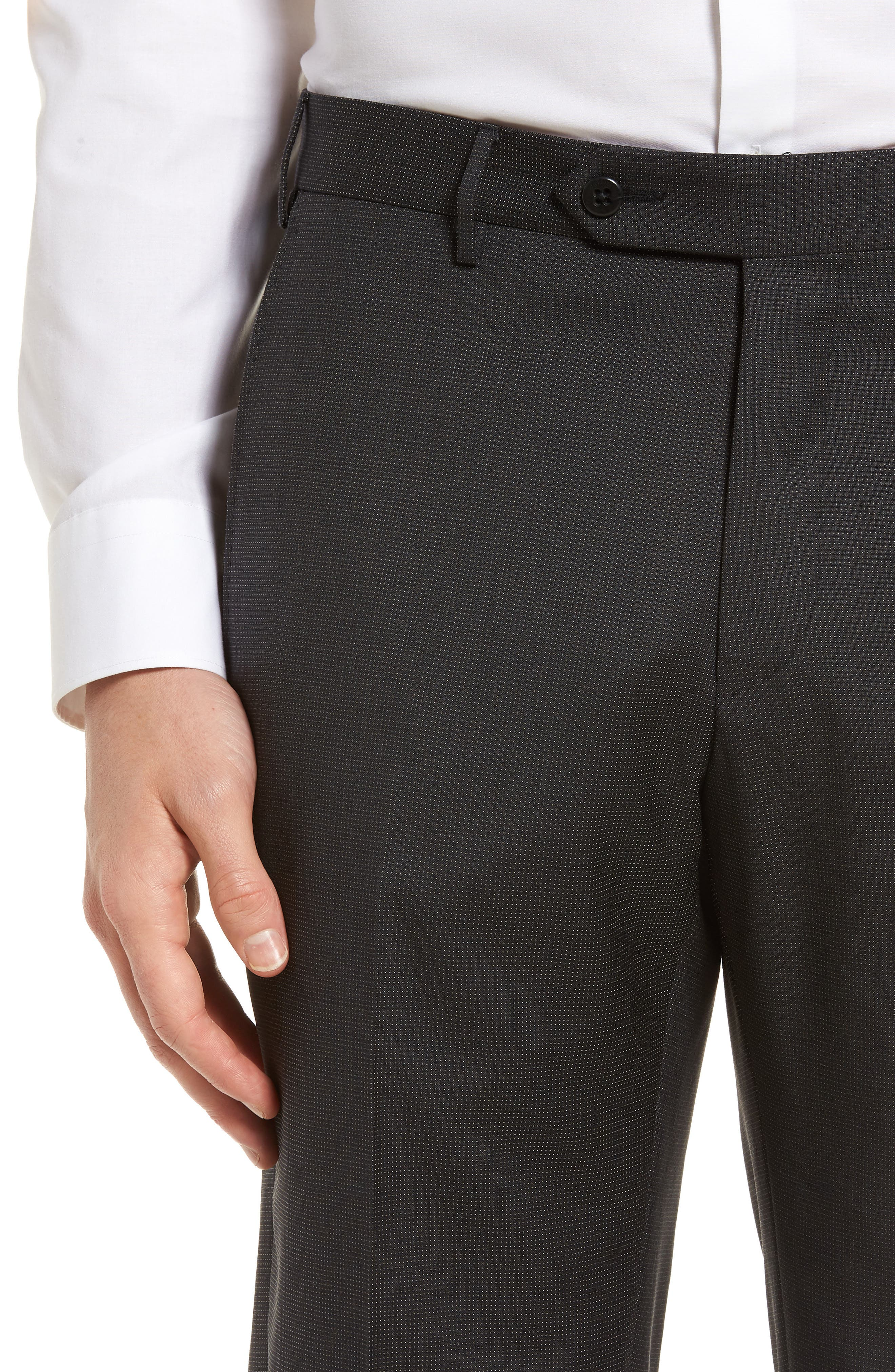 Parker Flat Front Pindot Wool Trousers,                             Alternate thumbnail 4, color,                             020