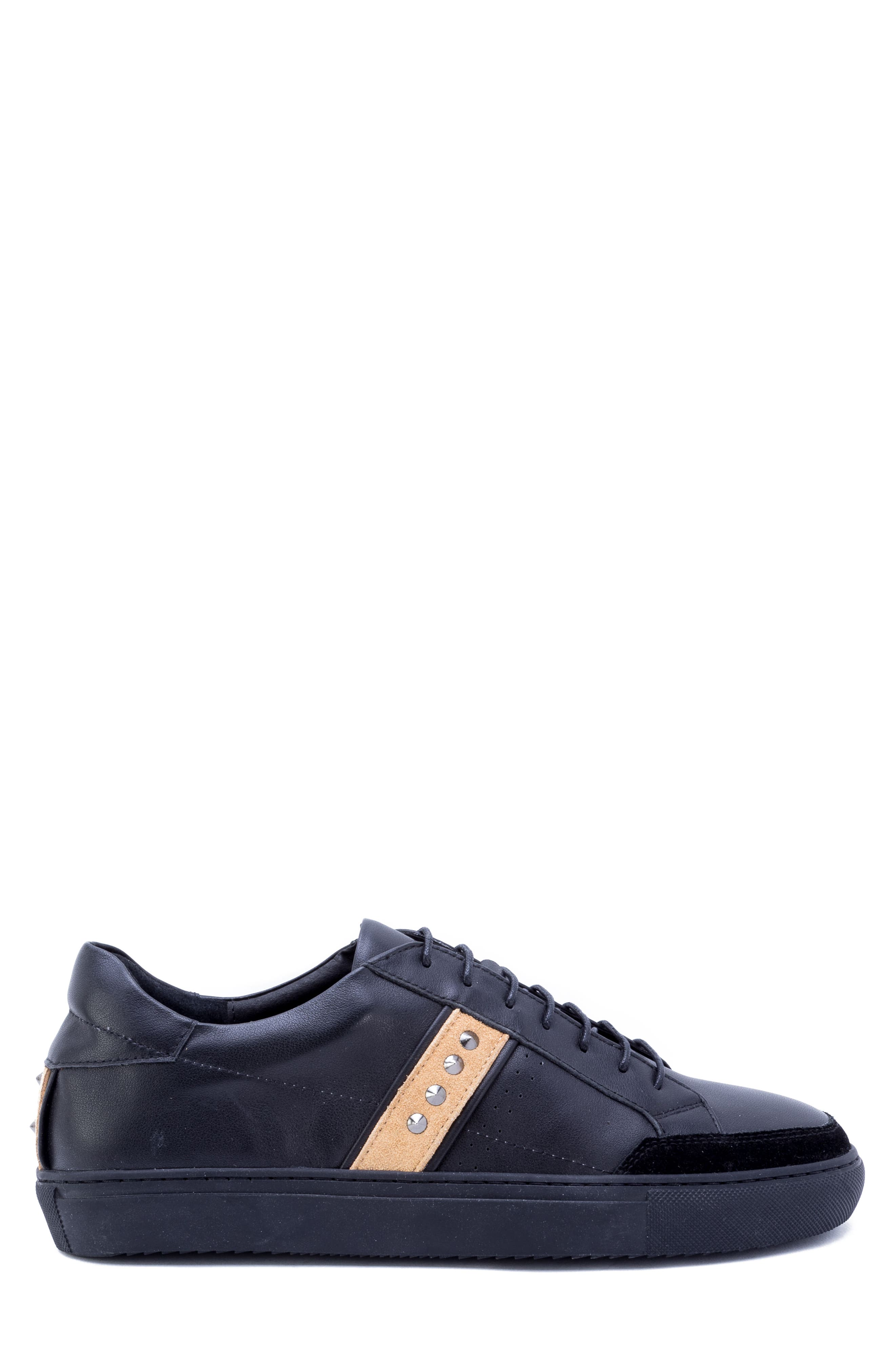 Badgley Mischka Connery Sneaker,                             Alternate thumbnail 3, color,                             BLACK LEATHER