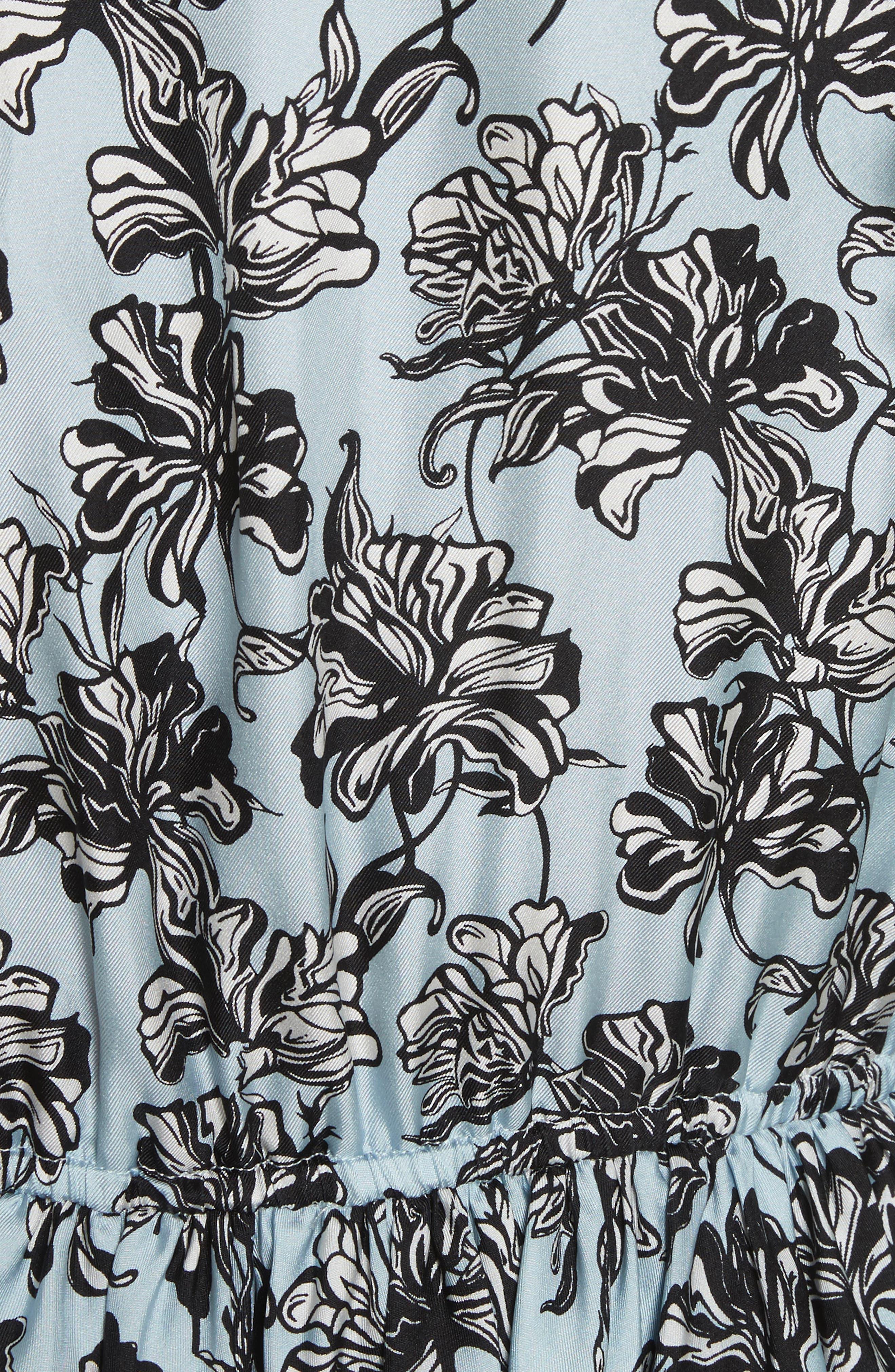 Ruffle Trim Cold Shoulder Silk Dress,                             Alternate thumbnail 5, color,                             420