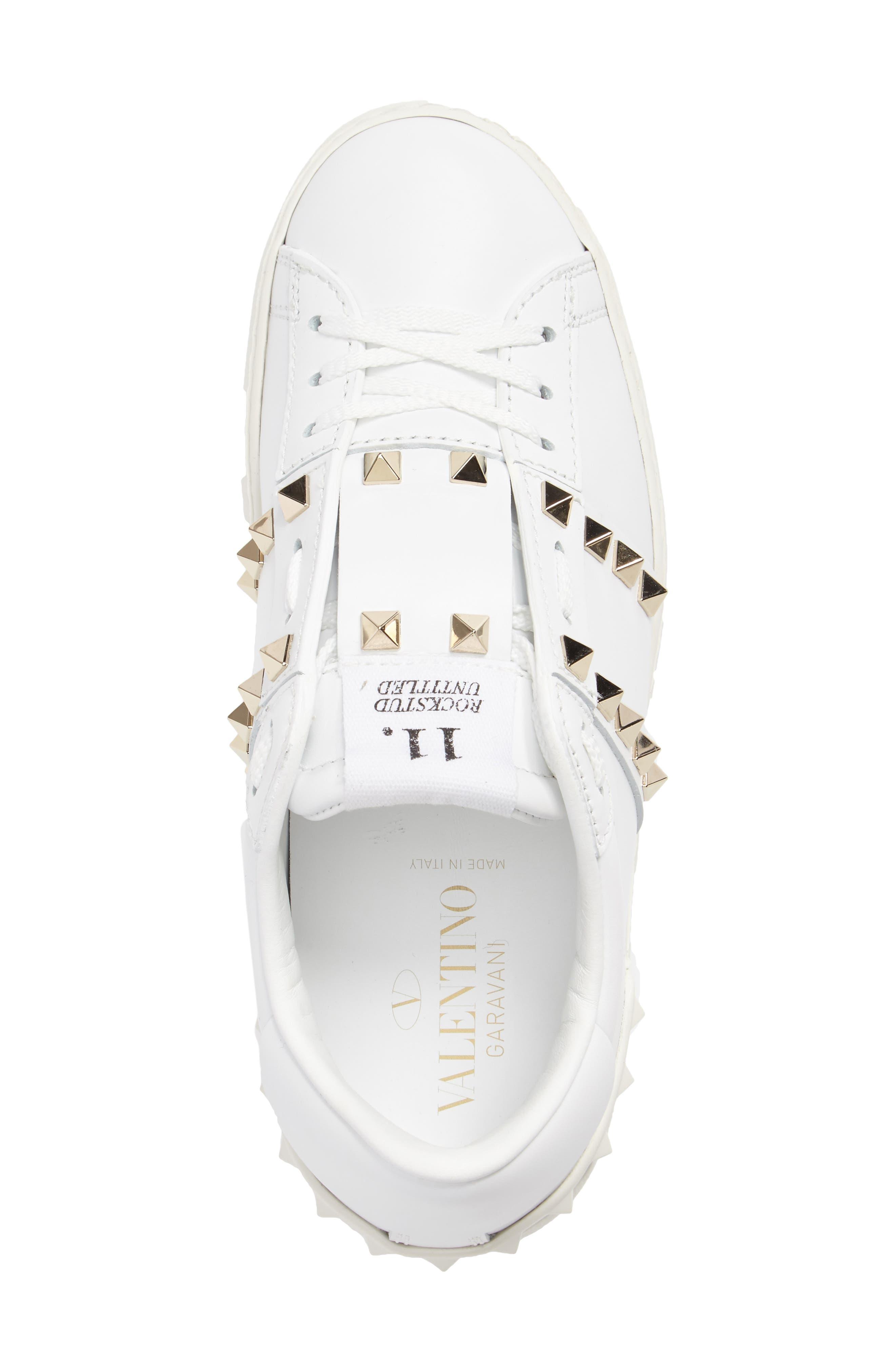 'Rockstud' Sneaker,                             Alternate thumbnail 4, color,                             WHITE LEATHER