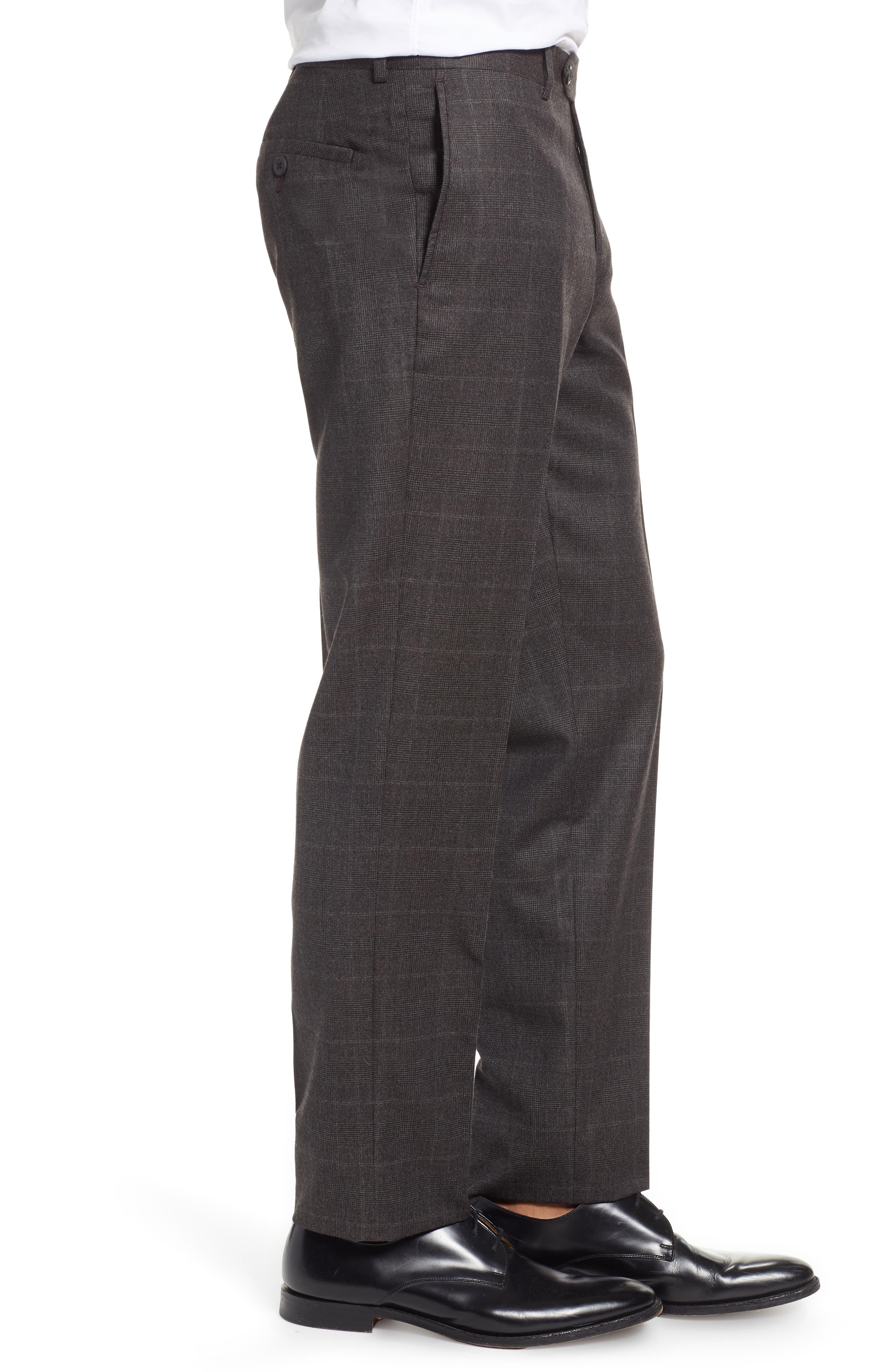 Trim Fit Flat Front Wool Trousers,                             Alternate thumbnail 3, color,                             BLACK