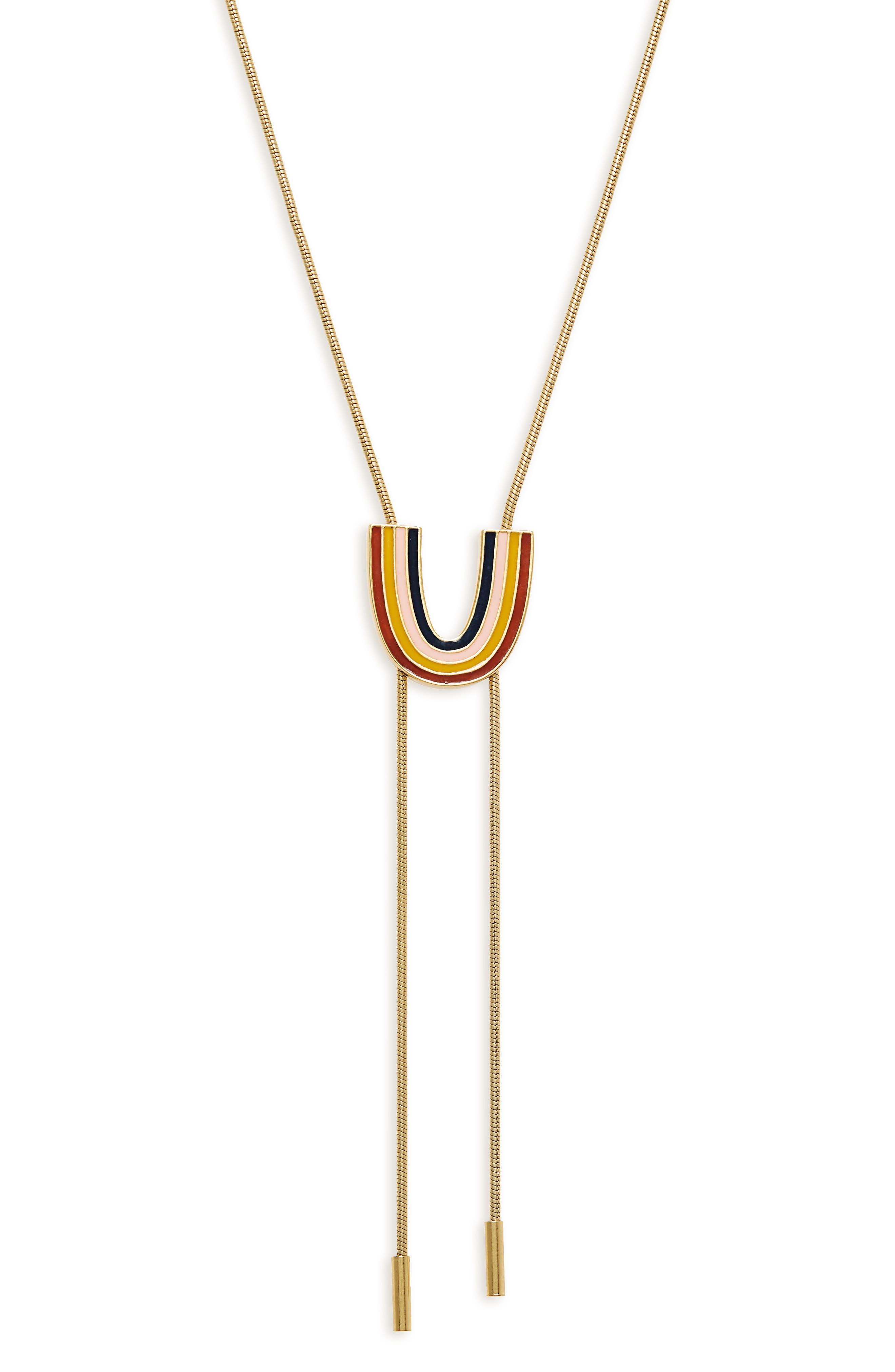 Enamel Rainbow Bolo Necklace,                             Alternate thumbnail 2, color,                             VINTAGE GOLD