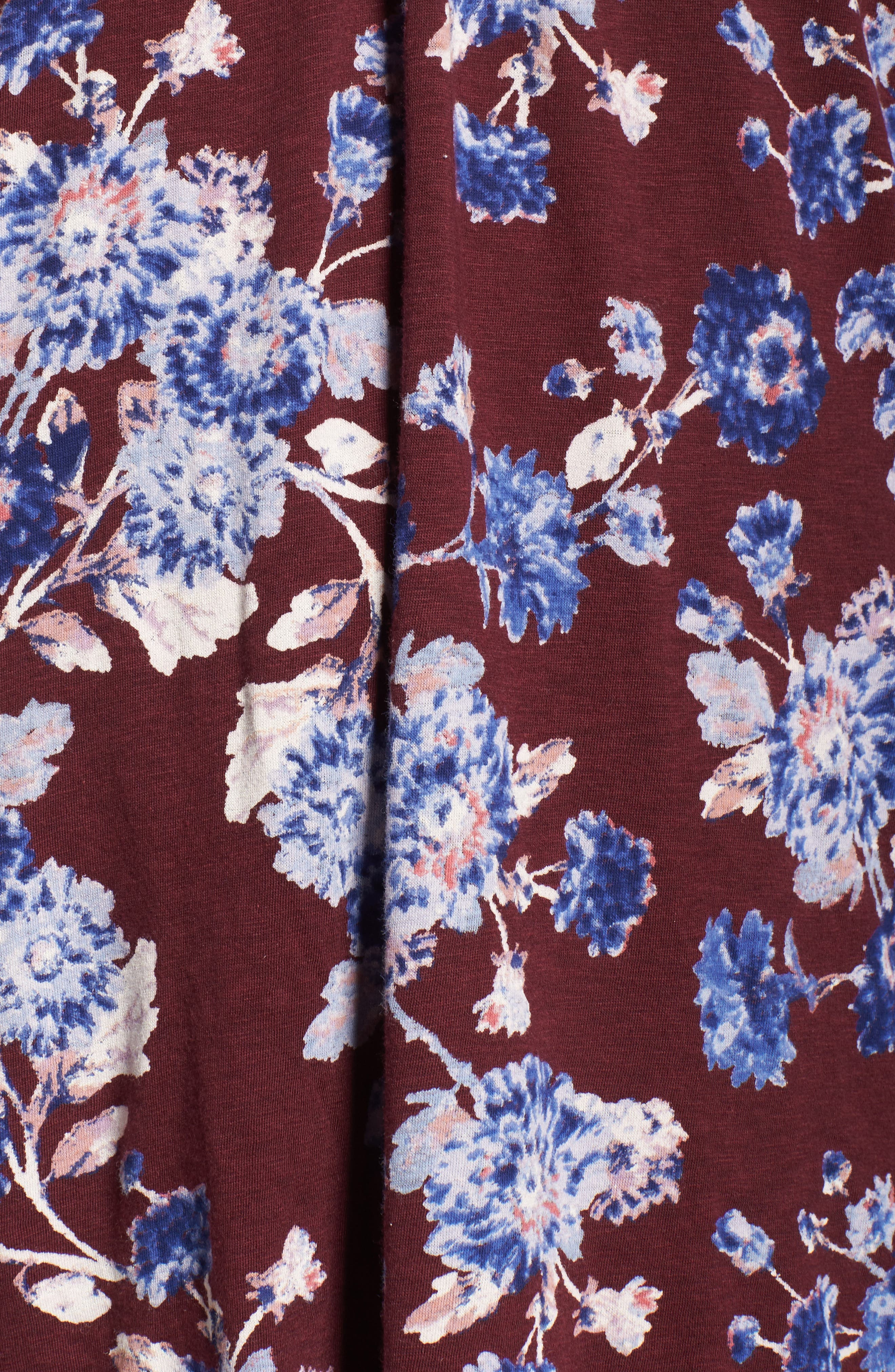 Floral Print Pintuck Top,                             Alternate thumbnail 5, color,                             540