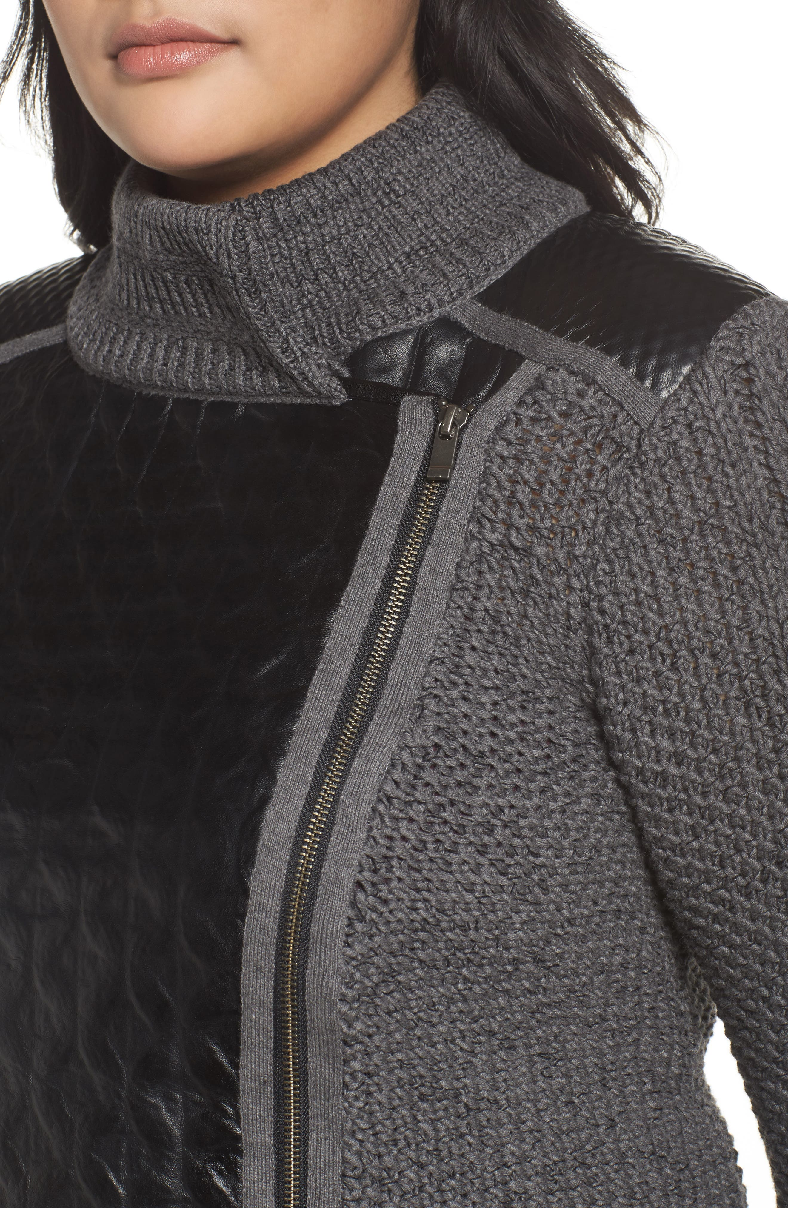 Cable Knit & Leather Jacket,                             Alternate thumbnail 4, color,                             020