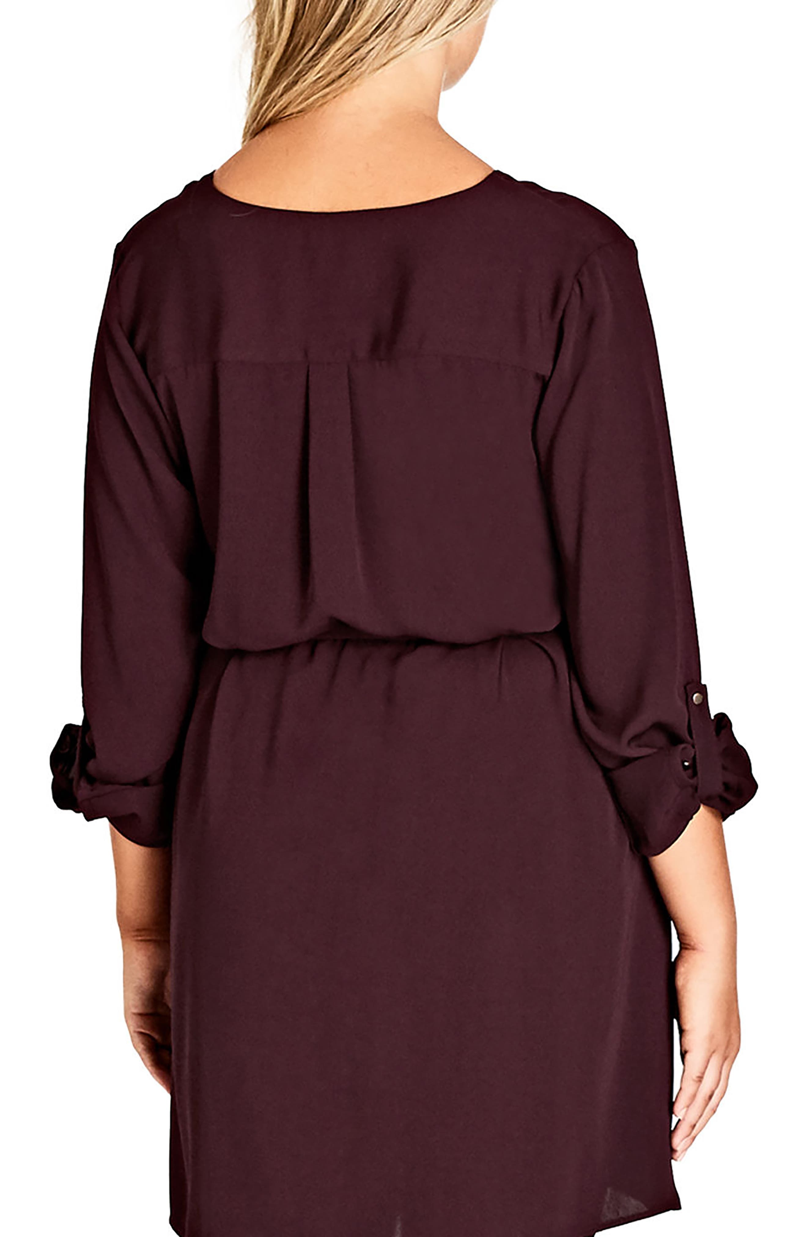 Pierced Heart Belted Tunic,                             Alternate thumbnail 2, color,                             OX BLOOD