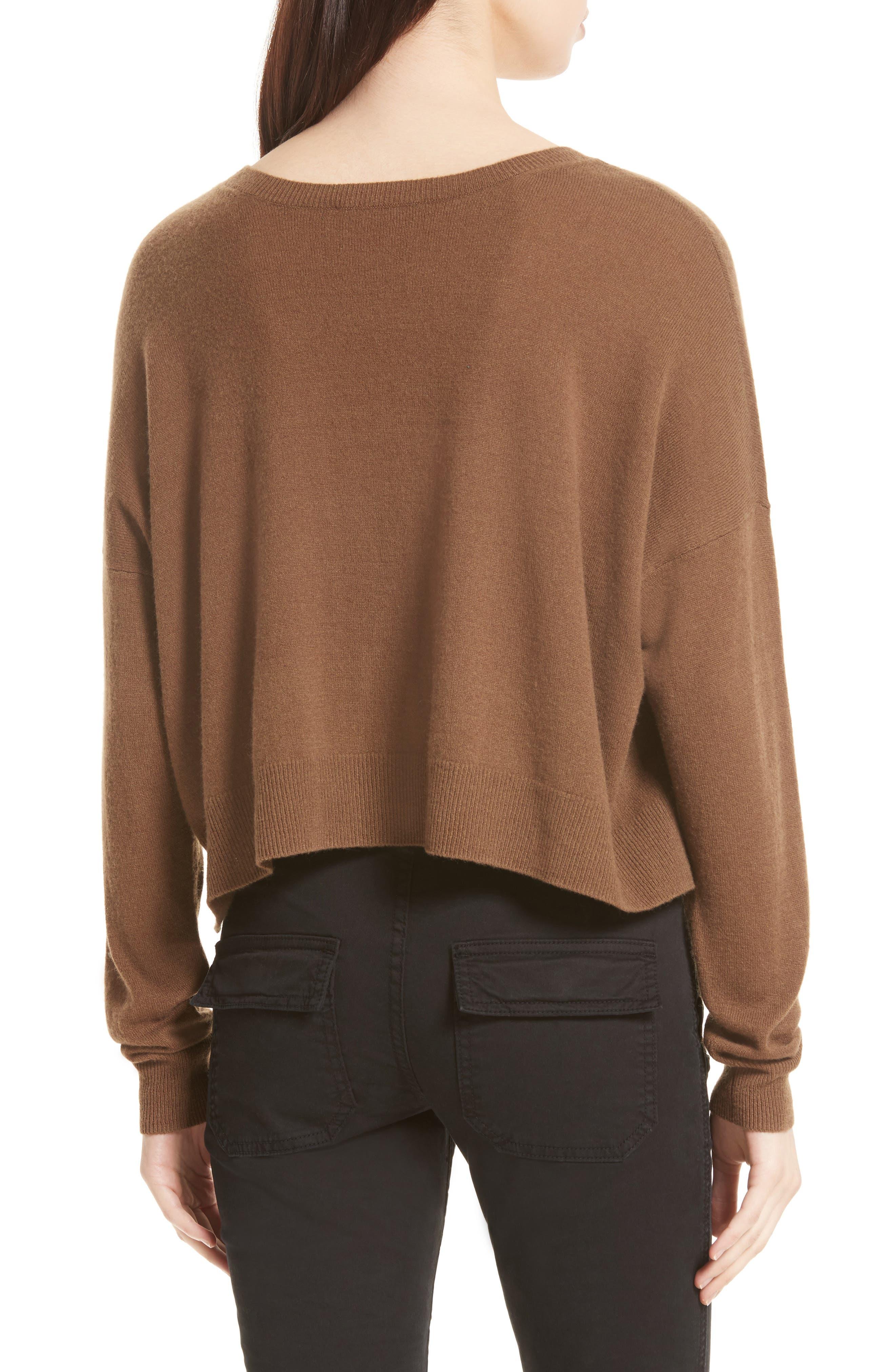 Crop Cashmere Sweater,                             Alternate thumbnail 4, color,