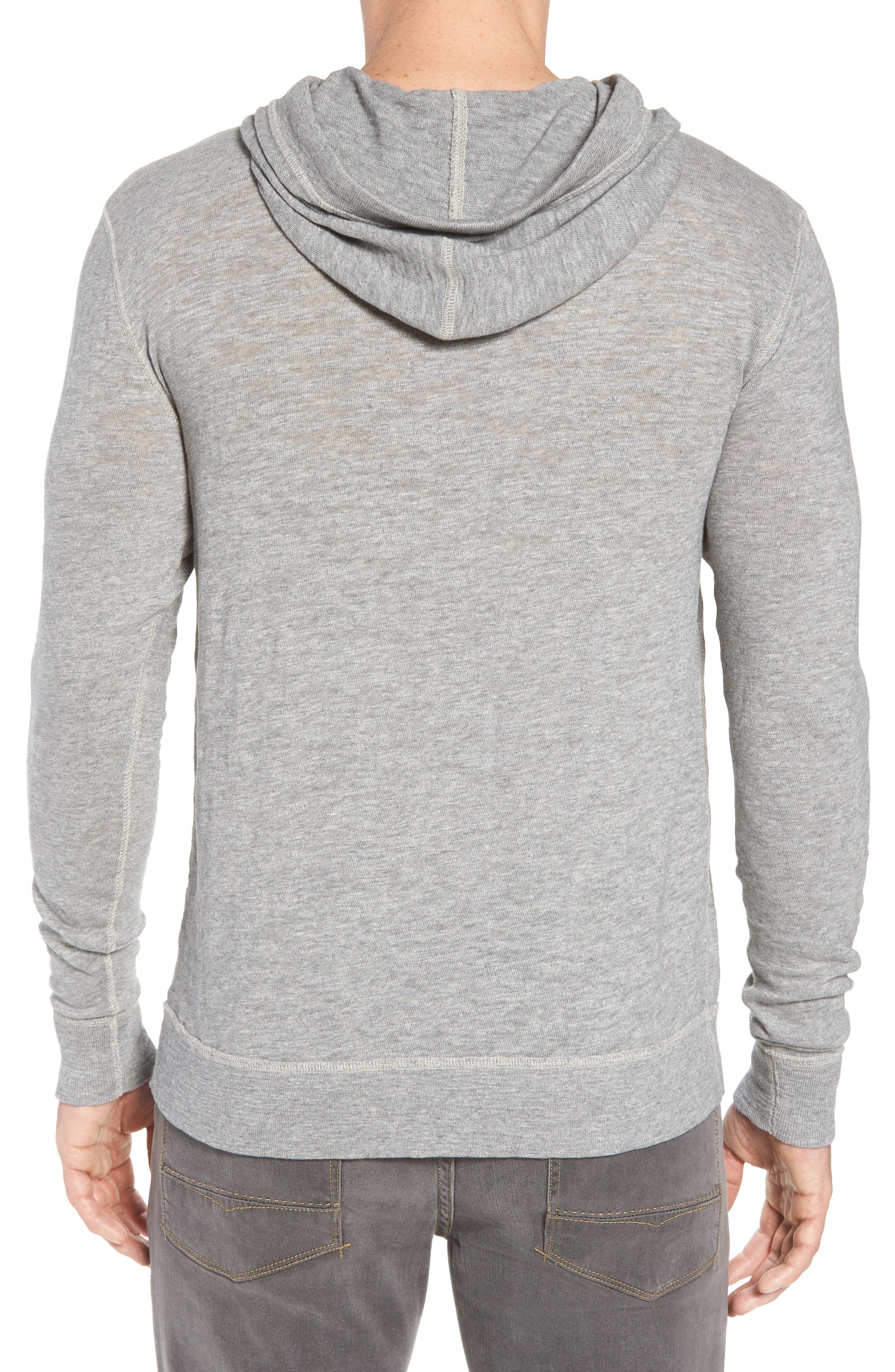 Slub Cotton Hoodie,                             Alternate thumbnail 2, color,                             HEATHER GREY