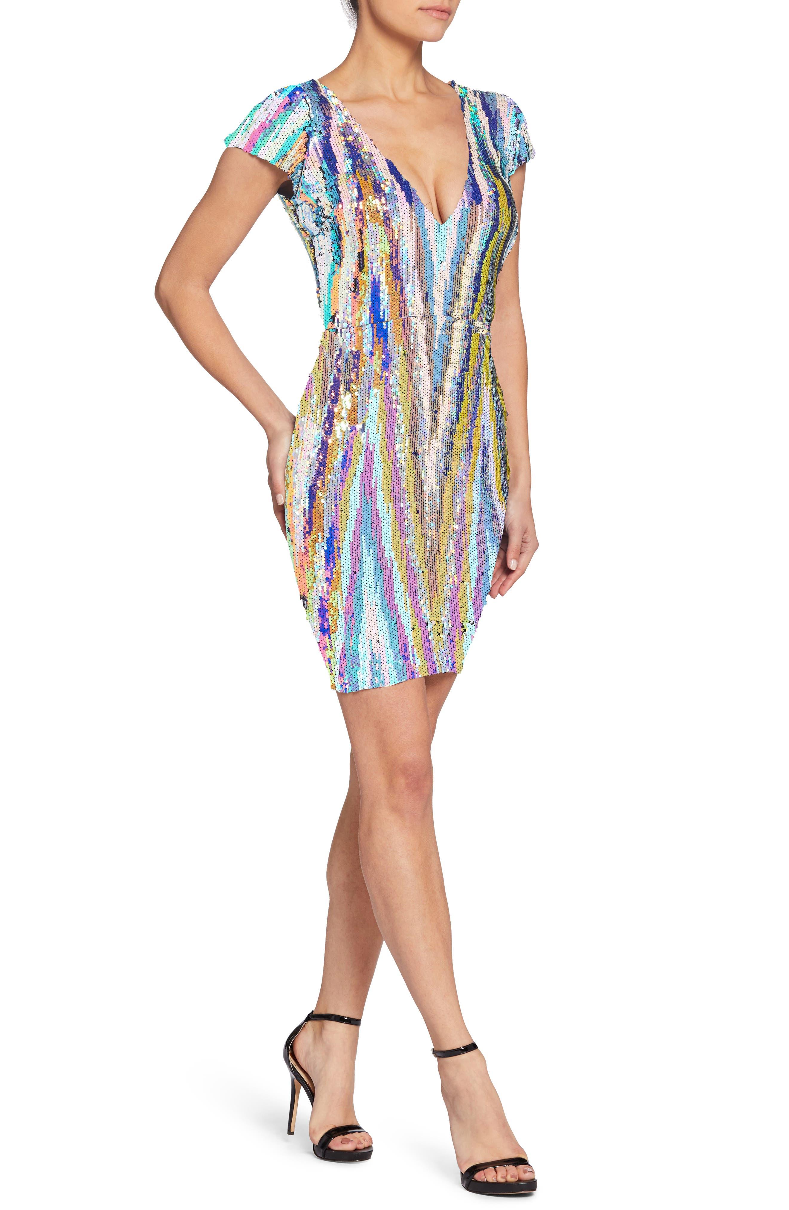 Zoe Sequin Body-Con Dress,                             Alternate thumbnail 3, color,                             OPAL MULTI