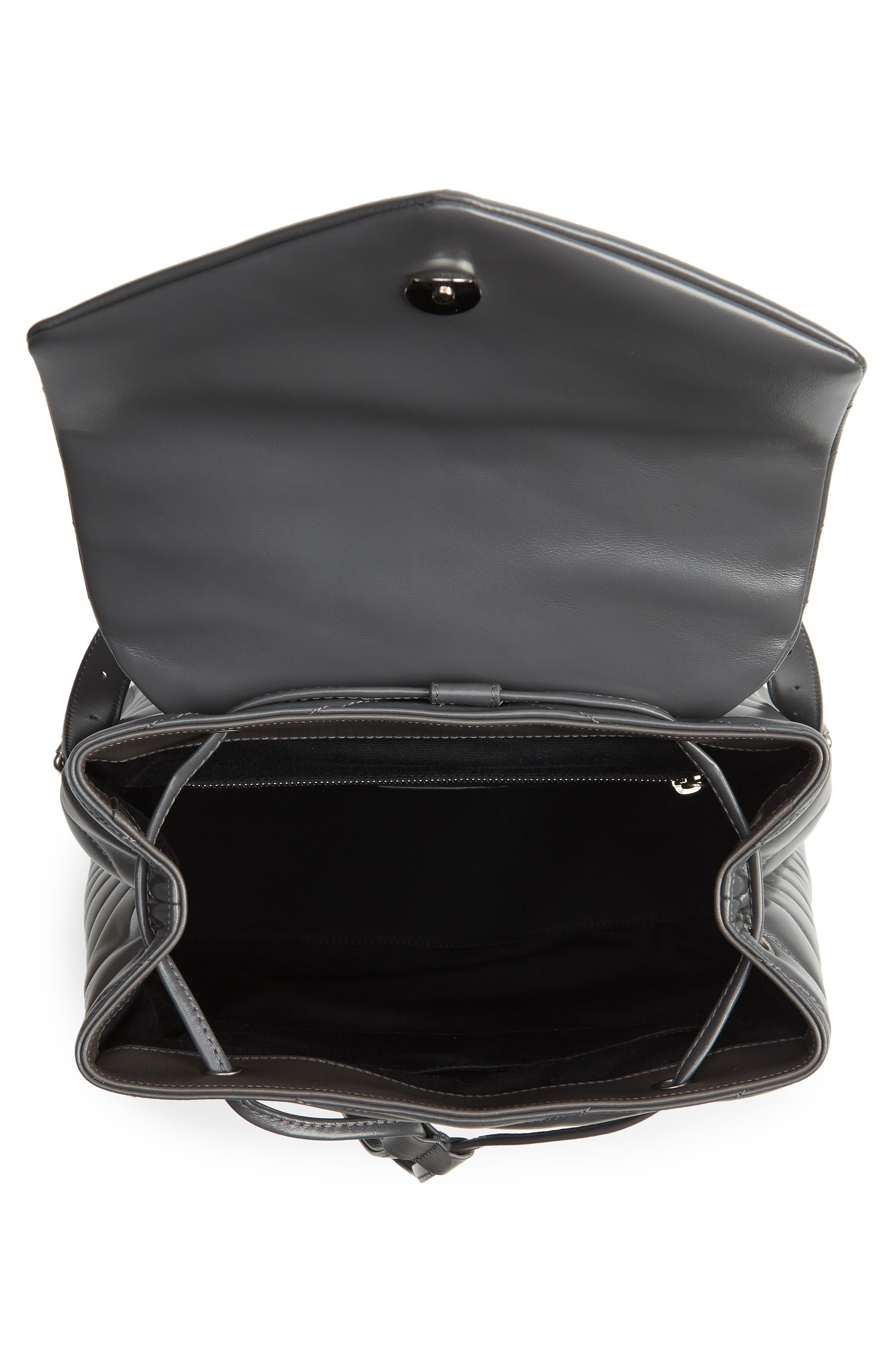 Medium Loulou Calfskin Leather Backpack,                             Alternate thumbnail 4, color,                             021