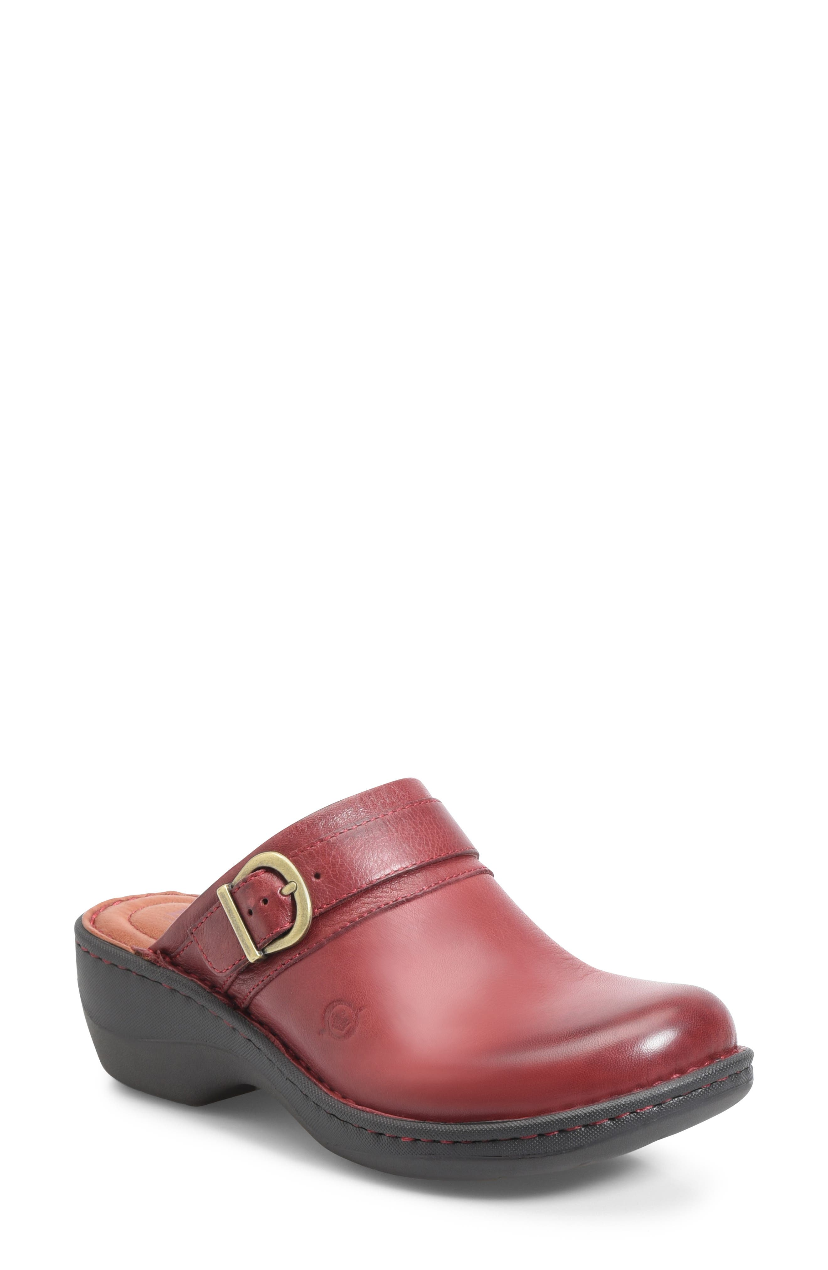 BØRN,                             Avoca Clog,                             Main thumbnail 1, color,                             RED LEATHER