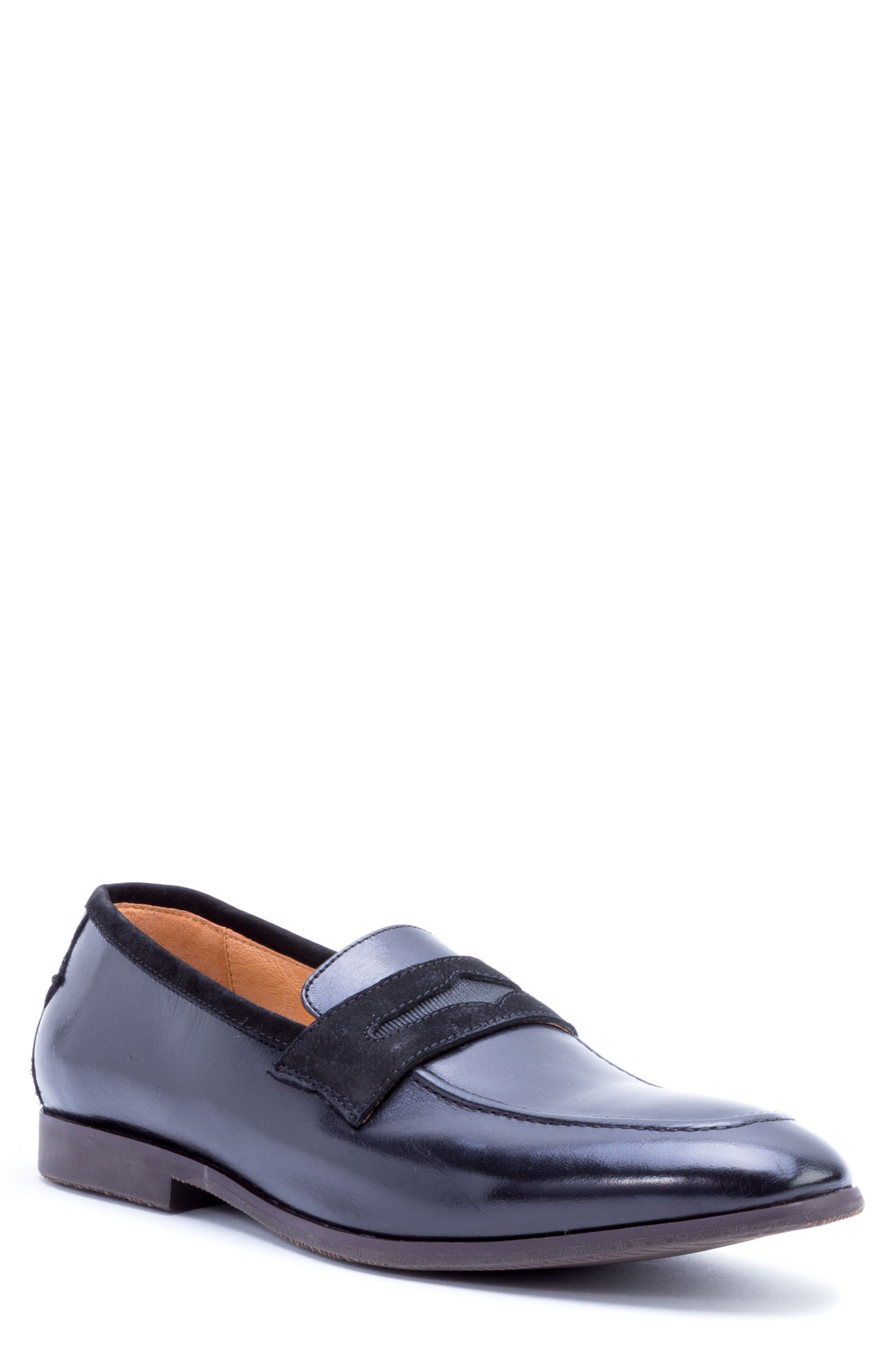 Apron Toe Penny Loafer,                             Main thumbnail 1, color,                             001