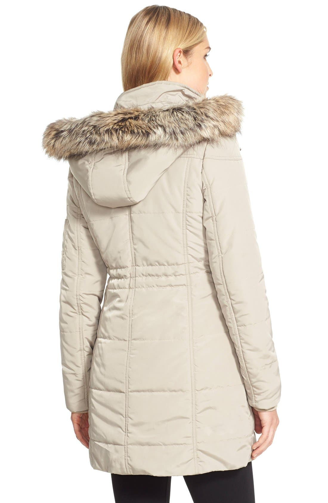 BCBGENERATION,                             FauxFur Trim Hooded Quilted Coat,                             Alternate thumbnail 3, color,                             275