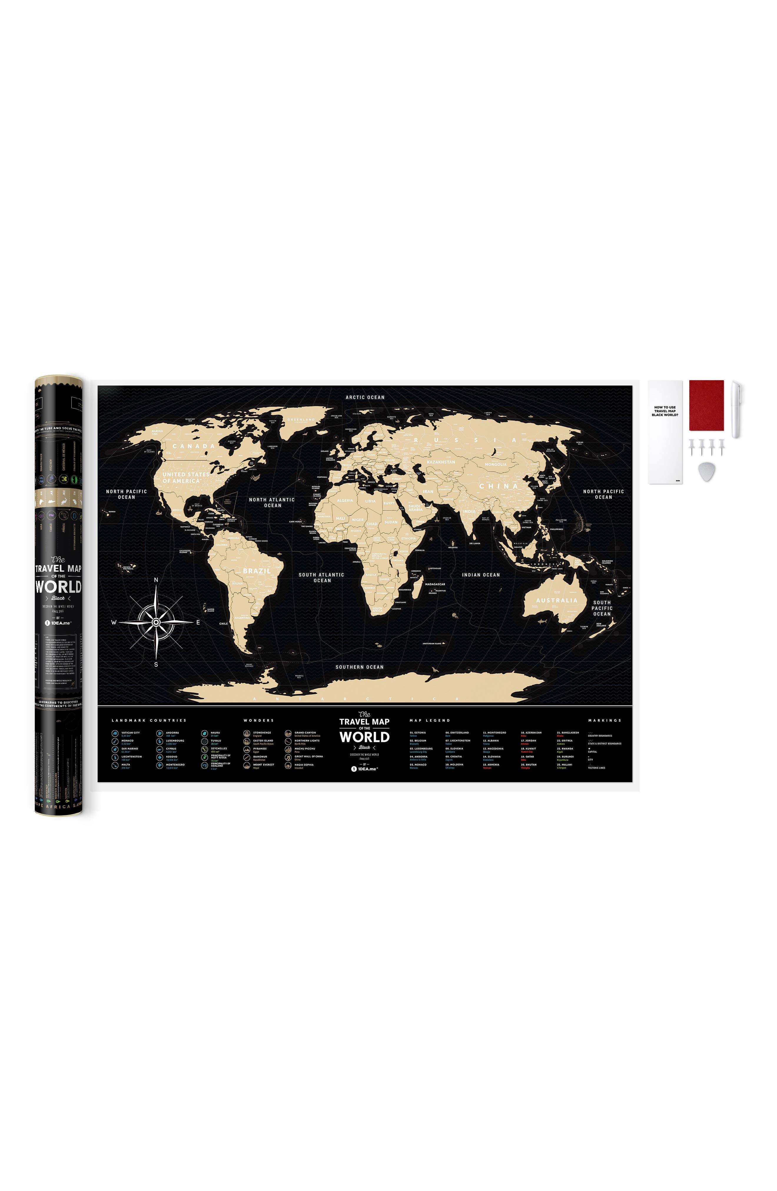 World Travel Map,                             Alternate thumbnail 5, color,                             BLACK